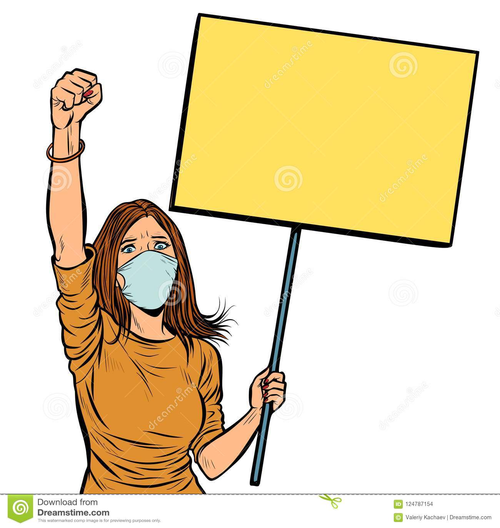 Vrouw in medische maskerprotesten met een affiche isoleer op witte B
