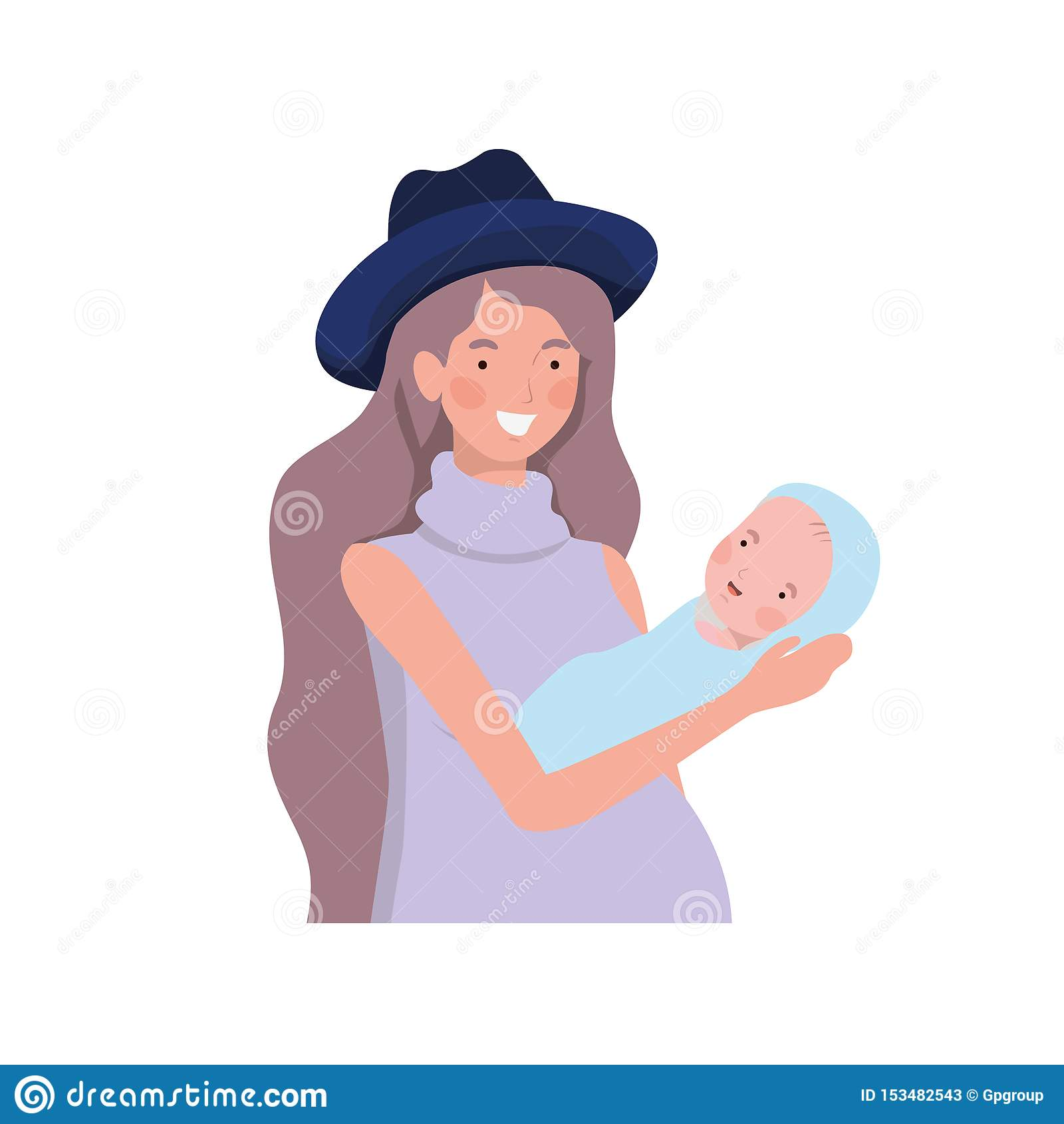 Vrouw met een pasgeboren baby in haar wapens