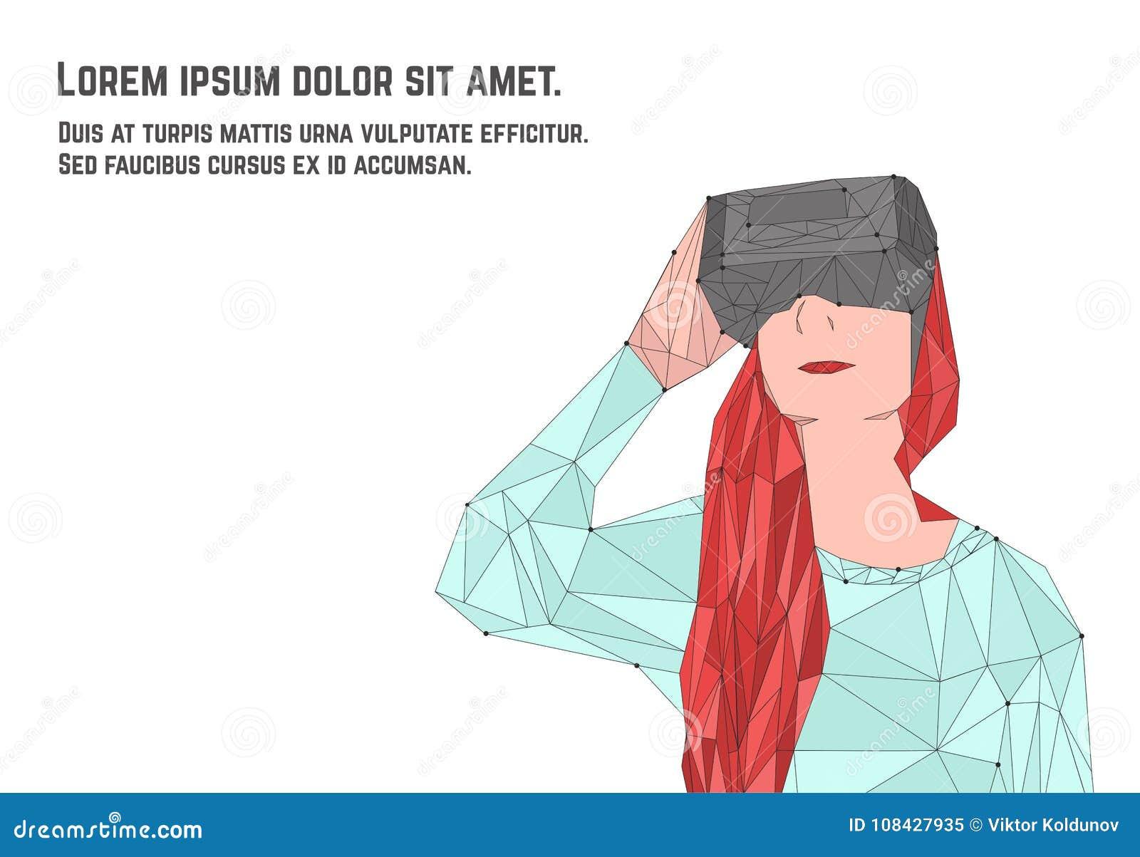 Vrouw met rood haar in virtuele werkelijkheidsglazen