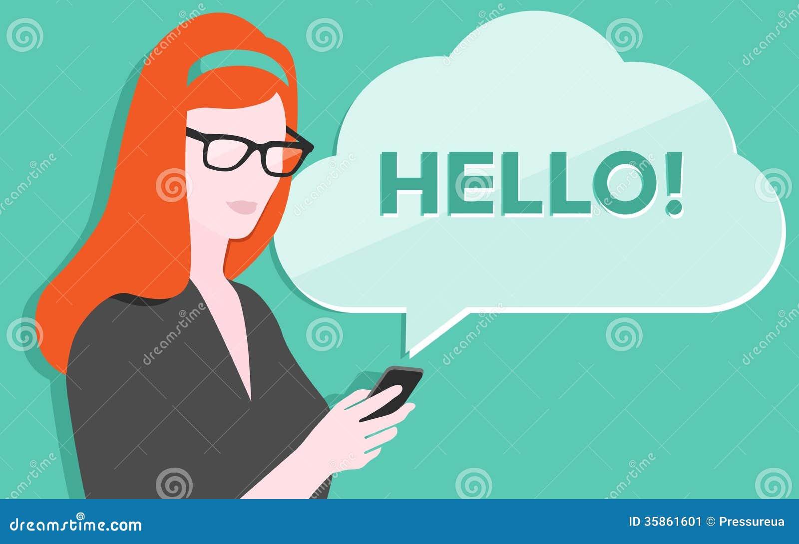 Vrouw met smartphoneillustratie