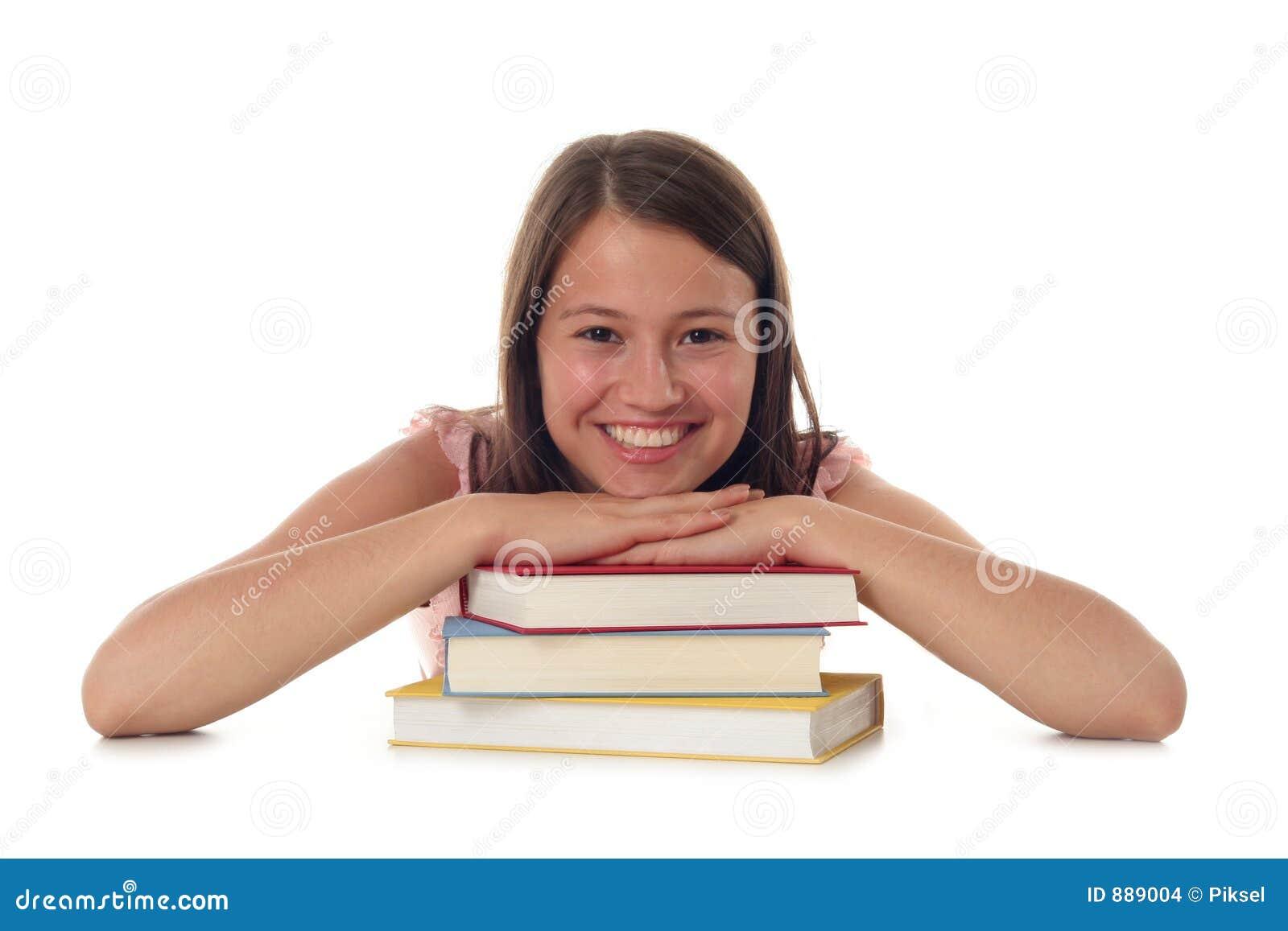 Vrouw met Stapel Boeken