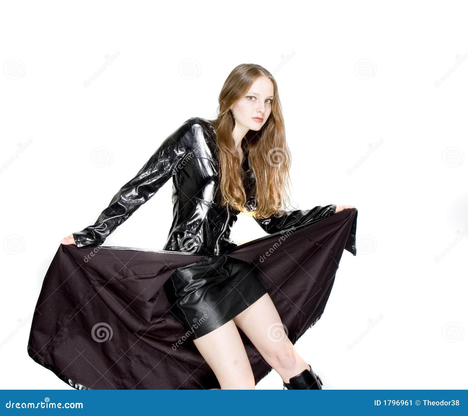 fa5a1565c04 Vrouw in strak leer stock afbeelding. Afbeelding bestaande uit mooi ...