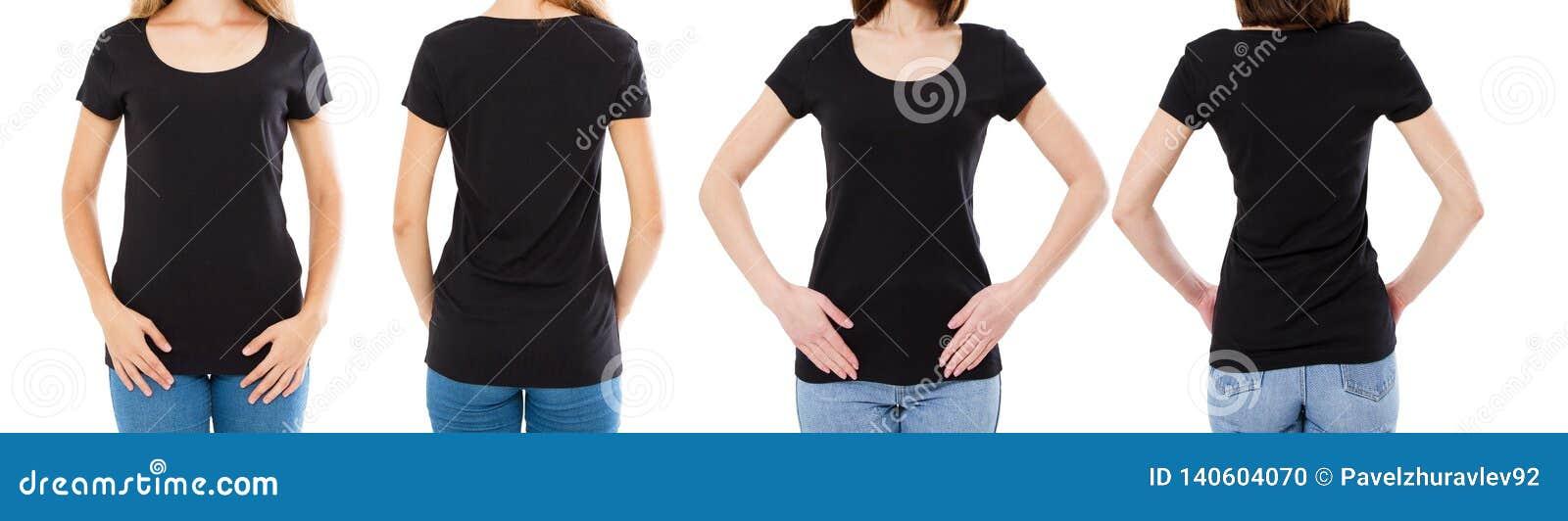 Vrouw twee in zwarte t-shirt: bebouwde beeld voor en achtermening, t-shirtreeks, de spatie van de modelt-shirt