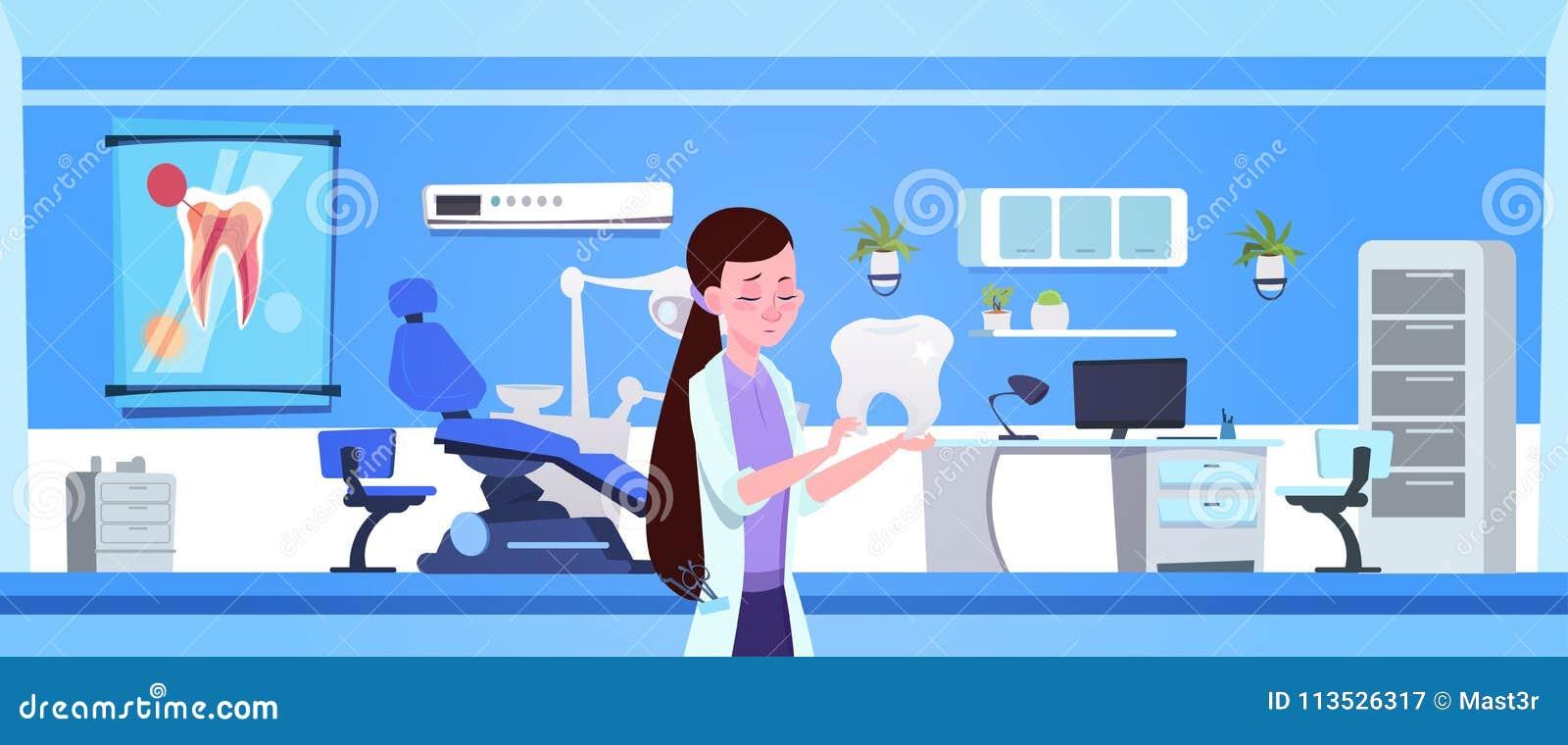 Vrouw van de het Bureau Binnenlandse Tandarts van Artsenholding tooth over het Tandconcept van Hospital Or Clinic