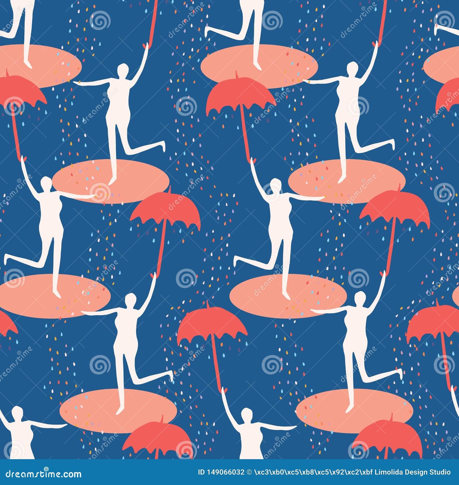 Vrouwelijk cijfer die open paraplu houden Het zingen in het regen naadloze patroon Vrouw die in watervulklei springen Concept van