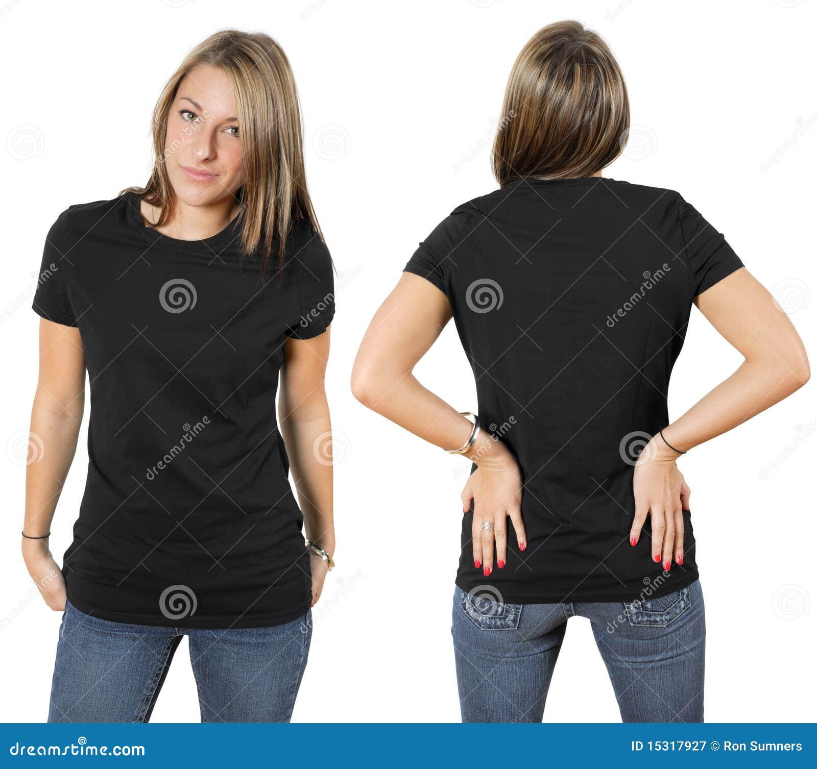 Vrouwelijk dragend leeg zwart overhemd