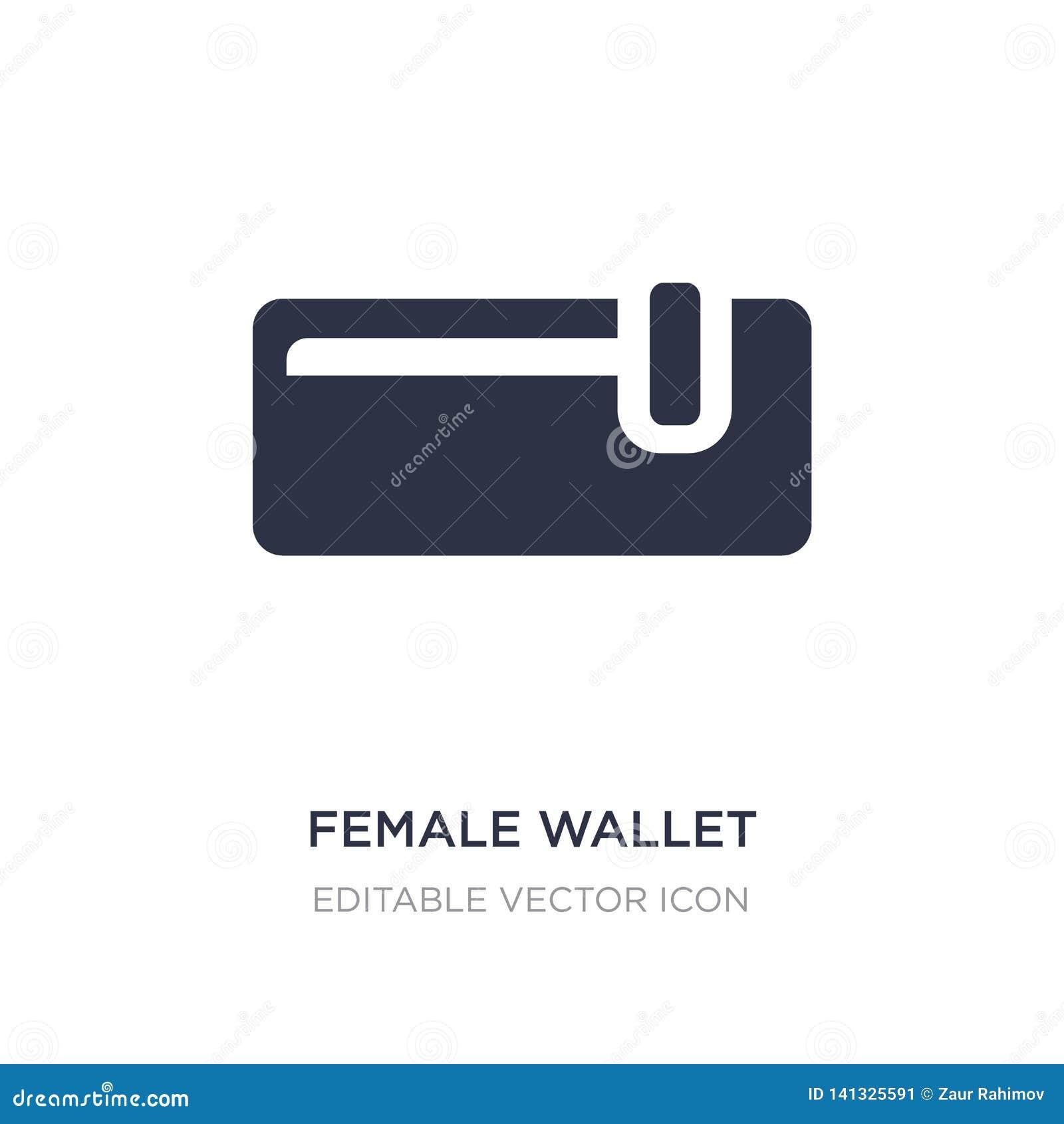 Vrouwelijk portefeuillepictogram op witte achtergrond Eenvoudige elementenillustratie van Manierconcept
