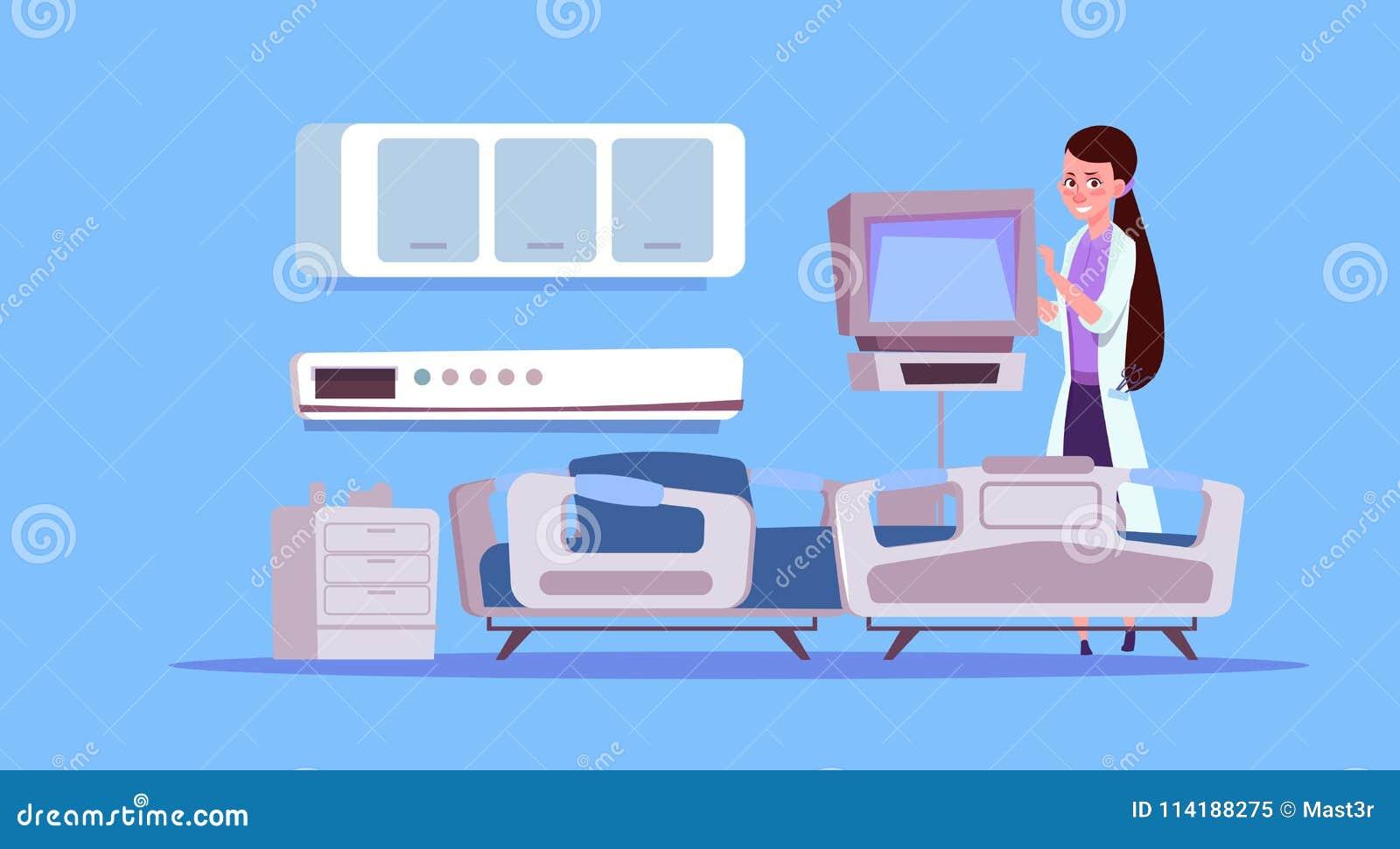 Vrouwelijke Arts Check Hospital Ward Equipment Medical Clinic Concept