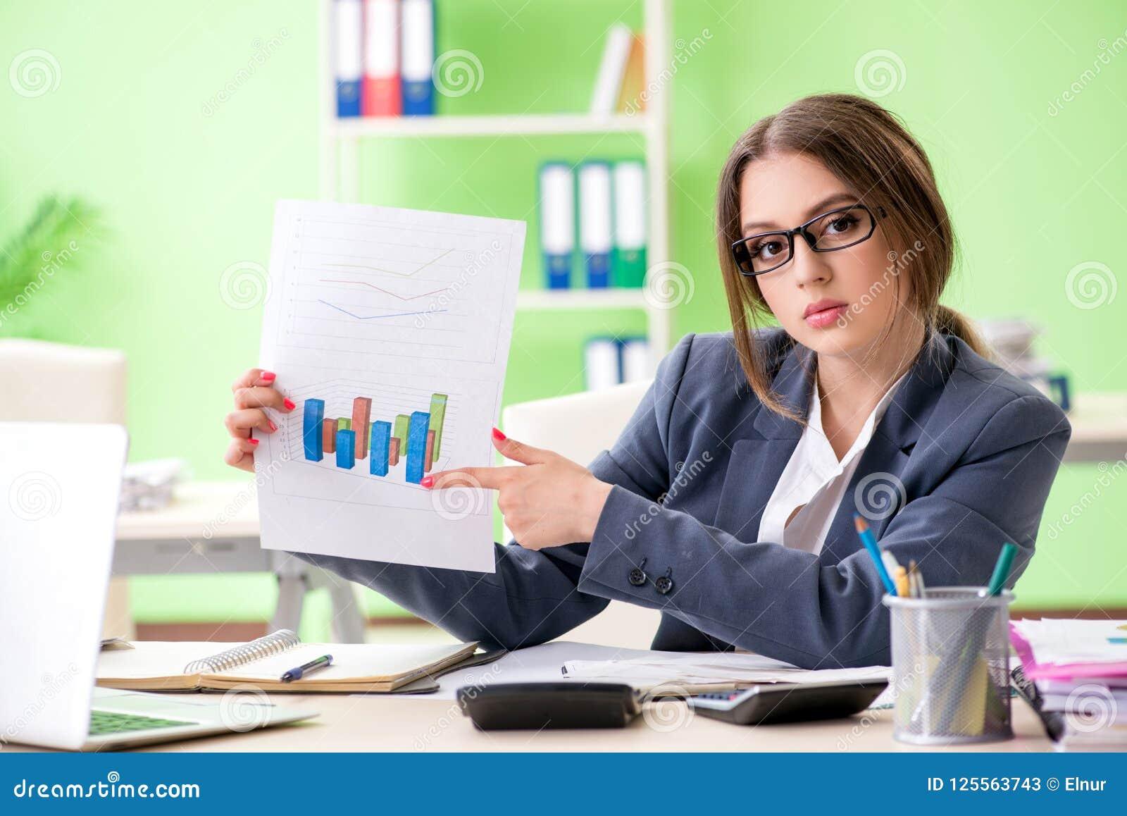 Vrouwelijke financiële manager die de zitting van de grafiekgrafiek in o voorstellen