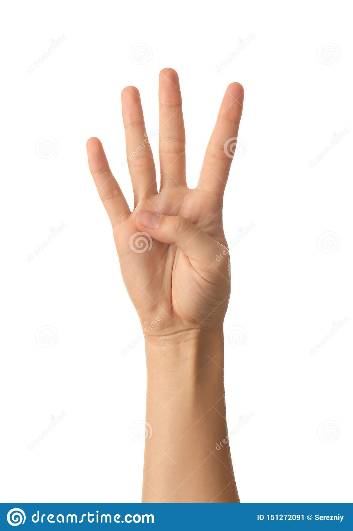 Vrouwelijke hand die vier vingers op witte achtergrond tonen