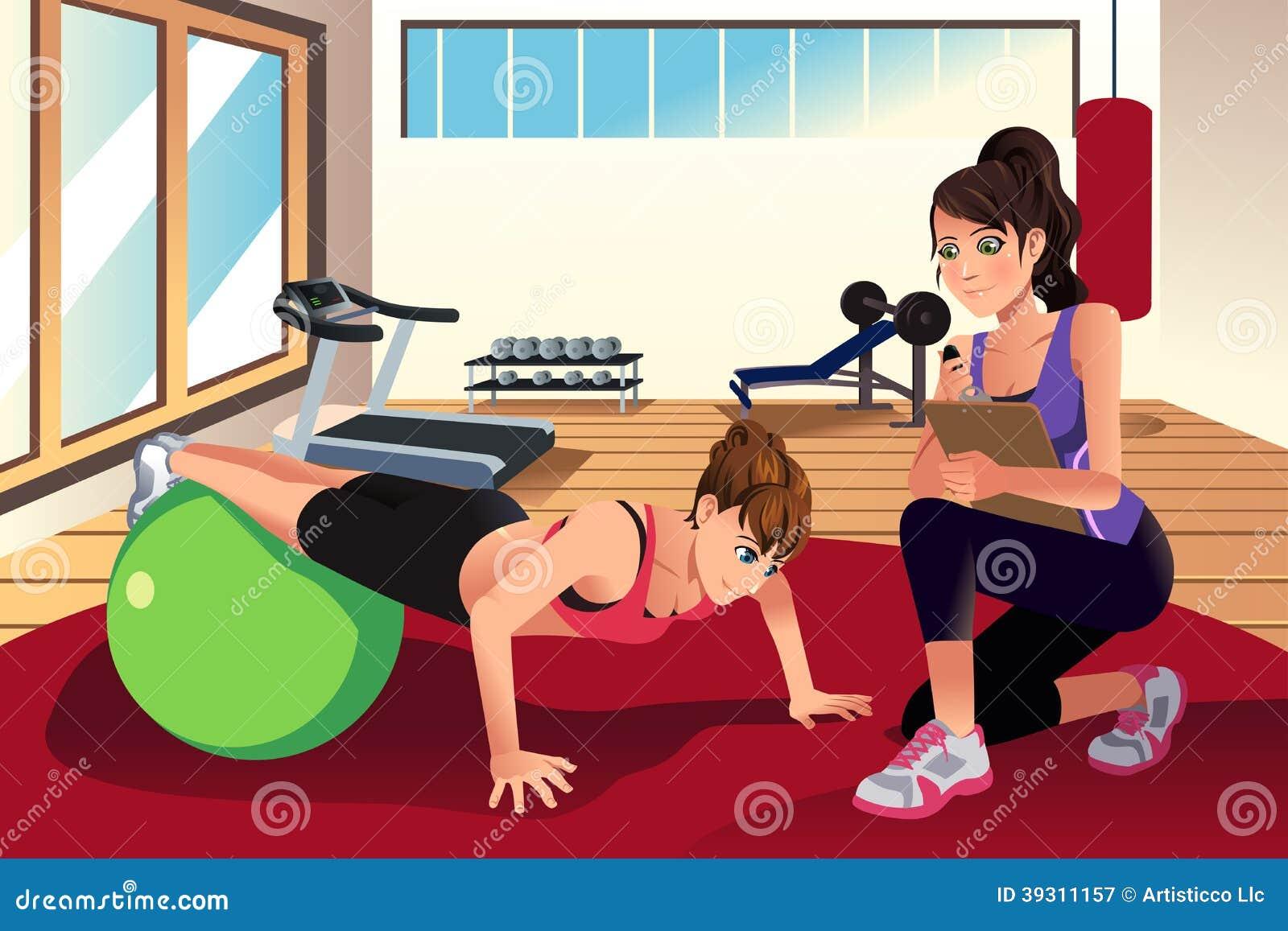 Vrouwelijke persoonlijke trainer opleidende vrouw in de gymnastiek
