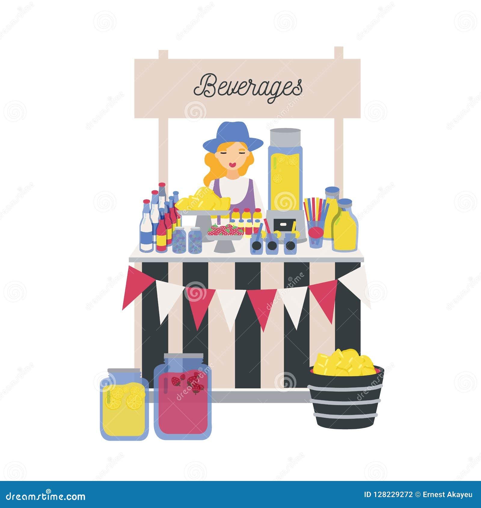 Vrouwelijke verkoper die zich bij teller, box of kiosk met citroenen, limonade en andere frisdranken bevinden Meisje het verkopen