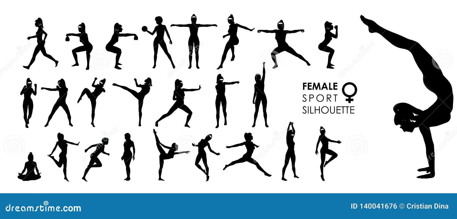 Vrouwelijke Vrouwensport, Dans, de Vector 25 Reeks van het Strijdsilhouet