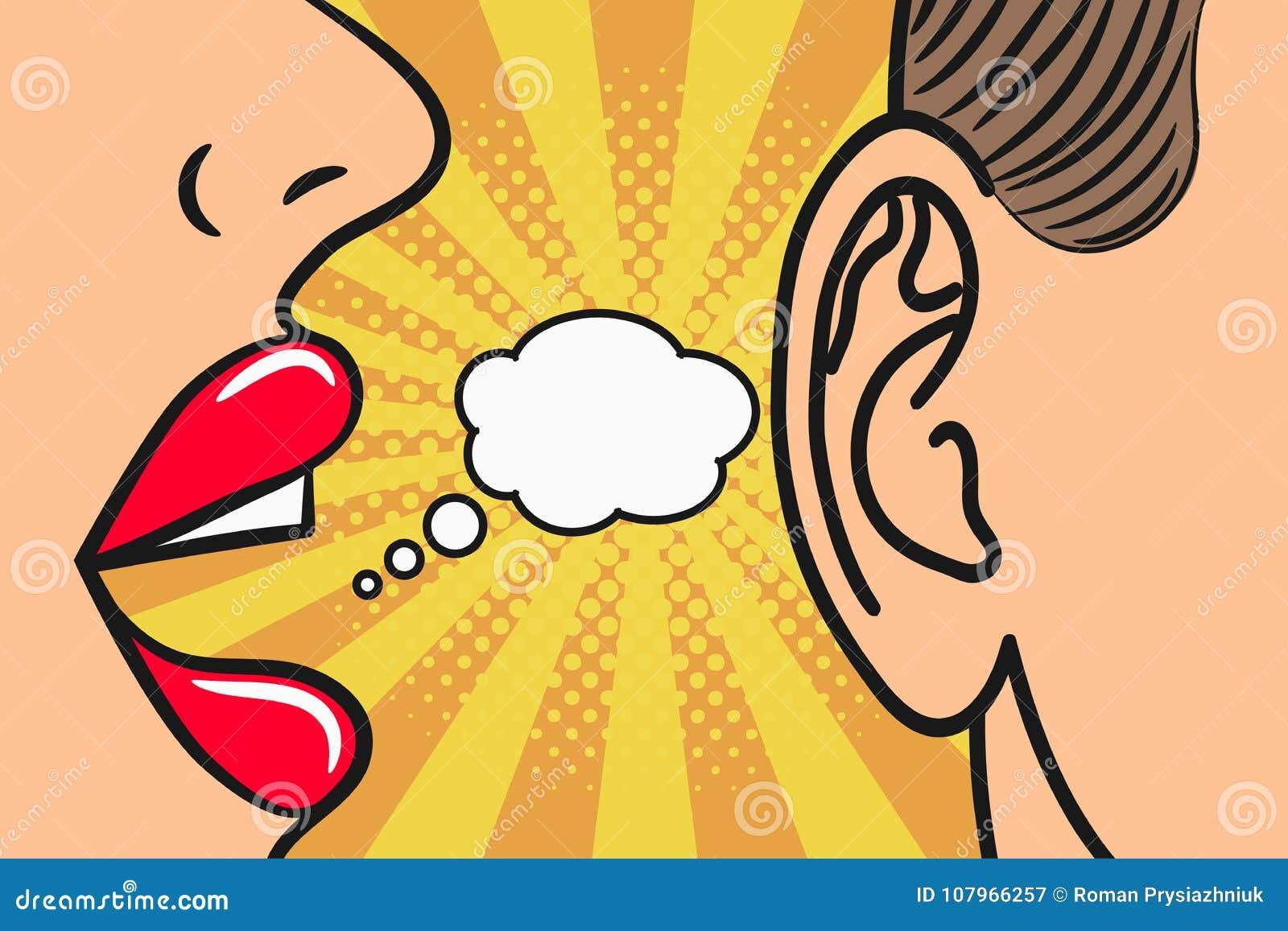 Vrouwen de lippen die binnen bemant oor met toespraakbel fluisteren Pop-artstijl, grappige boekillustratie Roddel en geheimenconc