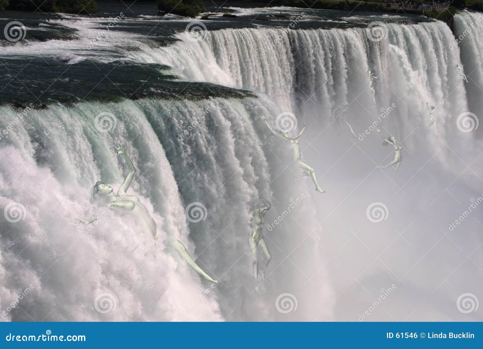 Vrouwen die over Niagara Falls vallen