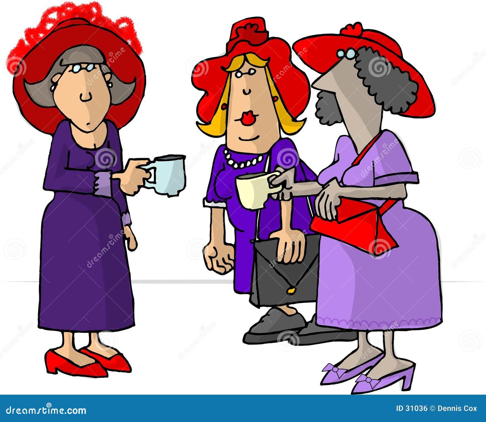 Vrouwen die in rode hoeden thee drinken