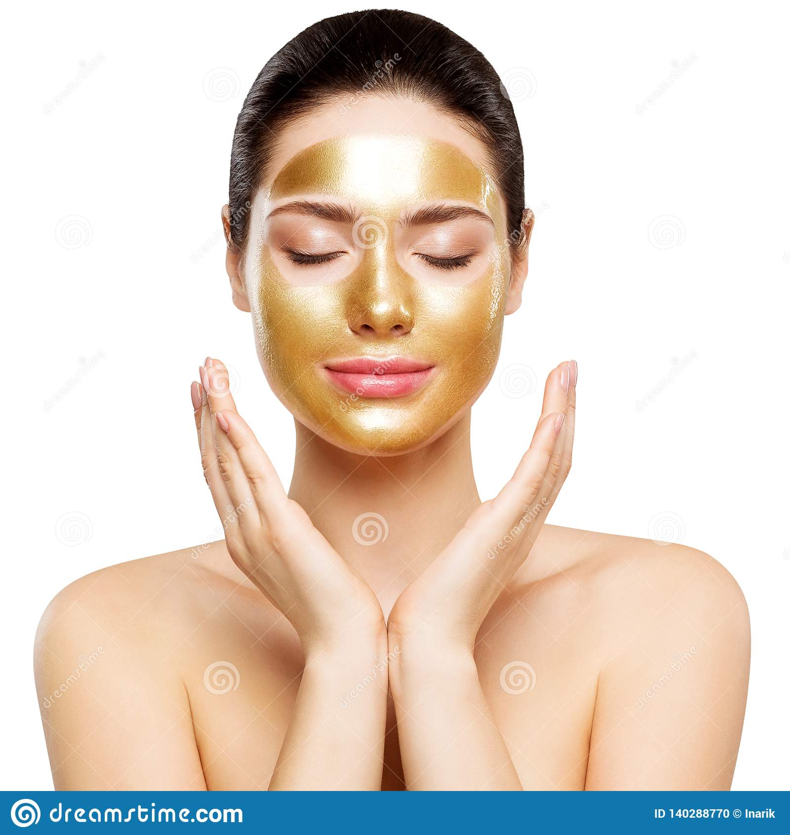 Vrouwen Gouden Masker, Mooi Model met Gouden Huidschoonheidsmiddel, Schoonheid Skincare en Behandeling