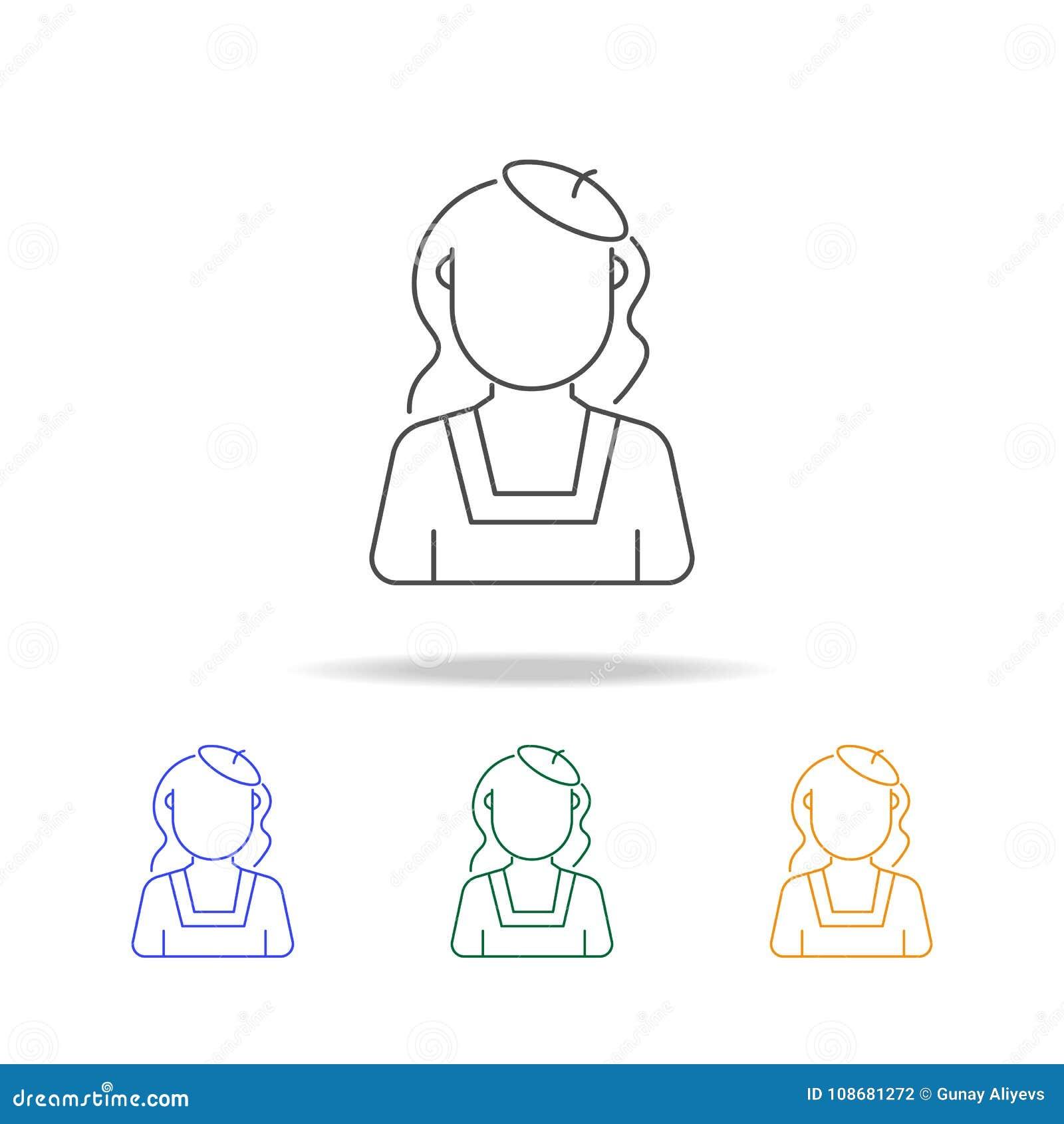 Vrouwen met avatar van de baretschilder multicoloured pictogrammen Element van beroepsavatar van voor mobiel concept en Web apps
