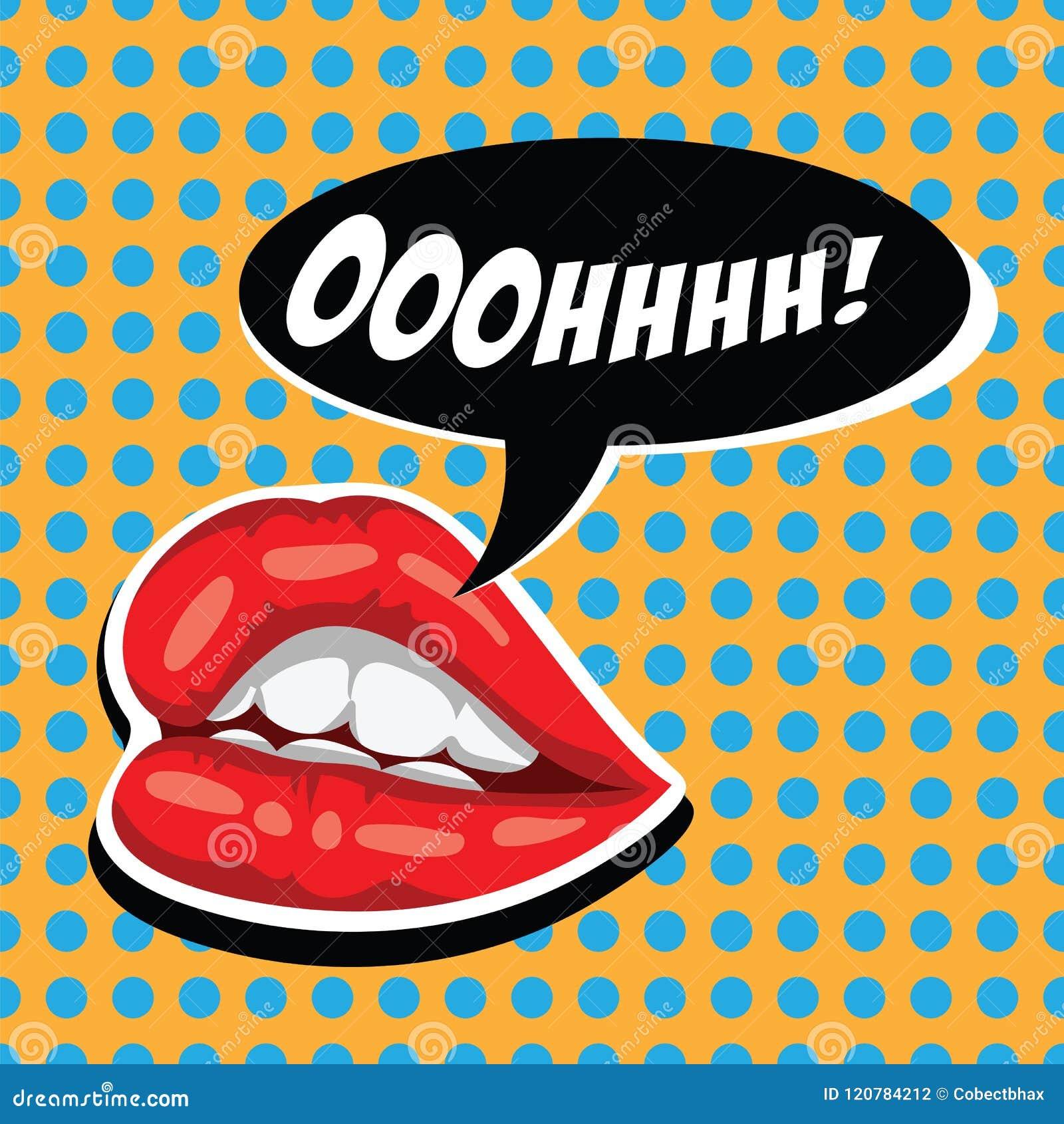 Vrouwen rode lippen en grappige toespraakbel Vrouwelijke mond met toespraakbel Aantrekkelijke meisjeslippen en open mond amerikaa