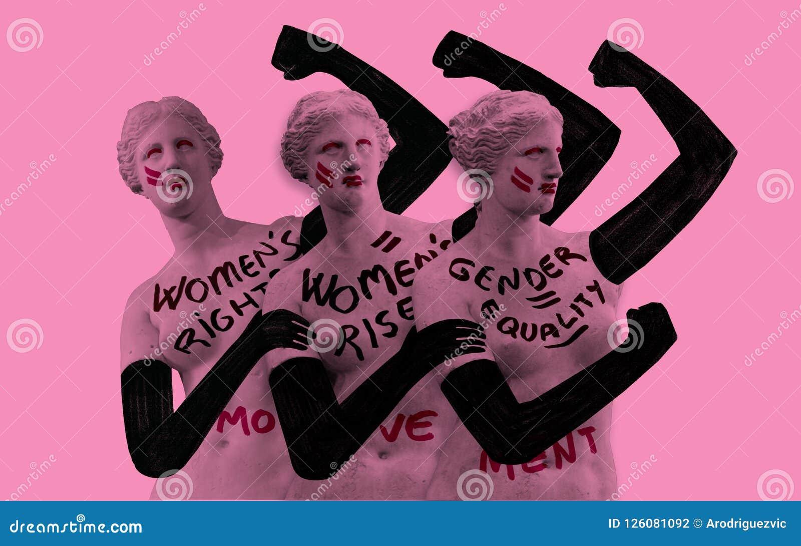 Vrouwen` s strijd voor hun rechten De visuele metafoor van Venus de Milo moderniseerde en feminized