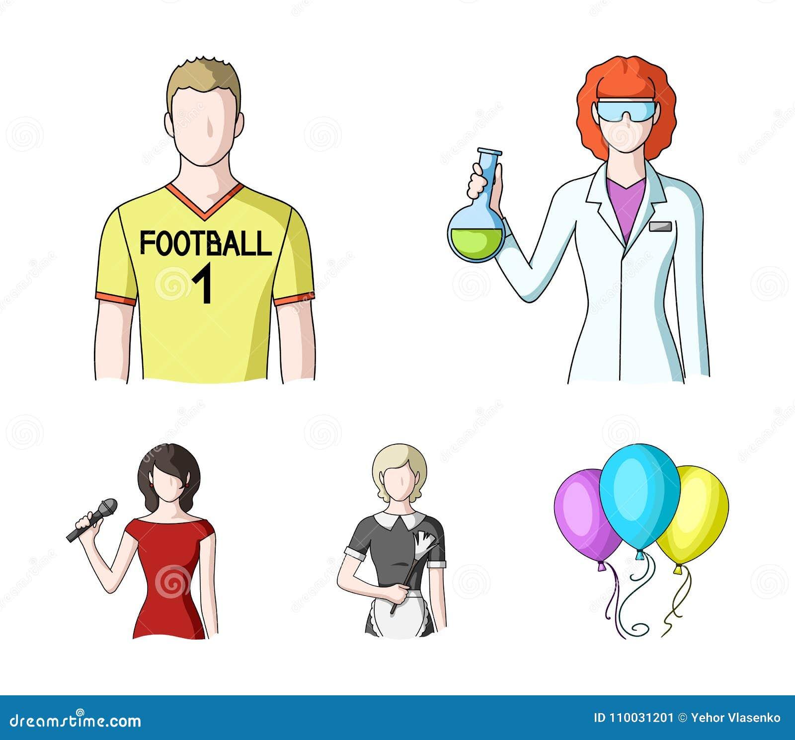 Vrouwenchemicus, voetbalster, hotelmeisje, zanger, presentator Pictogrammen van de beroeps de vastgestelde inzameling in de vecto