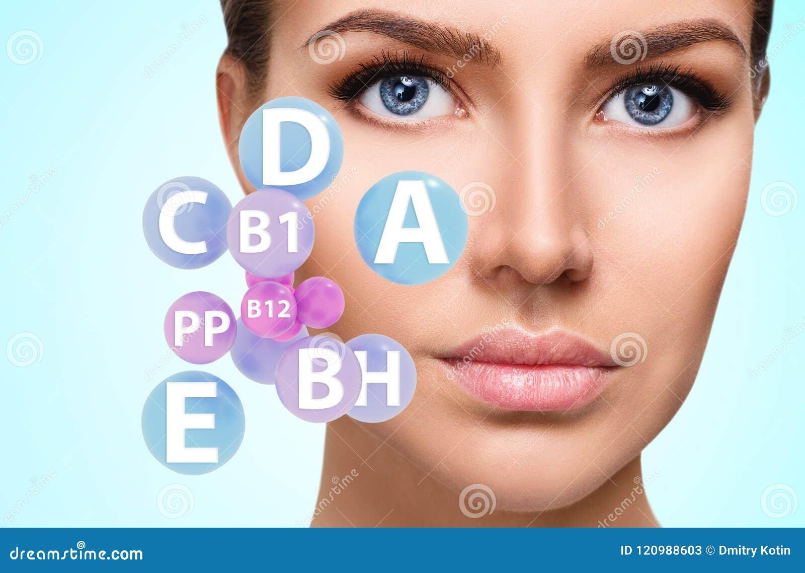 Vrouwengezicht met vitaminenpictogrammen Gezond huidconcept
