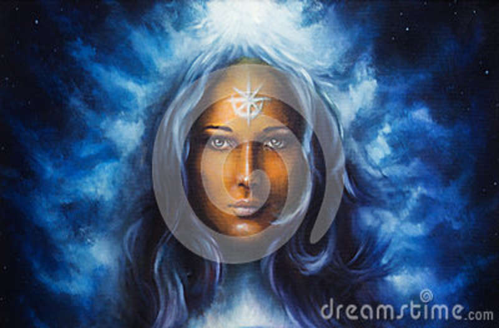 Vrouwengodin met lange blauwe haarholding
