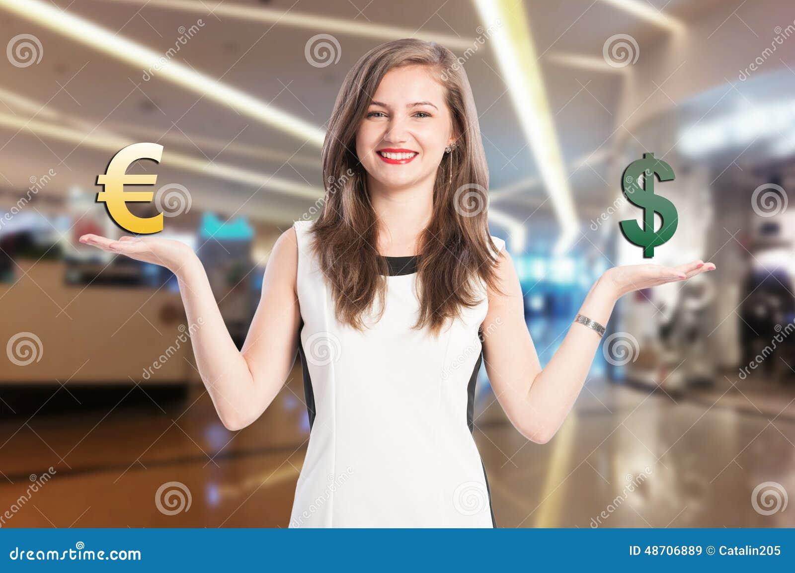 Vrouwenholding en het schrapen euro en dollarteken