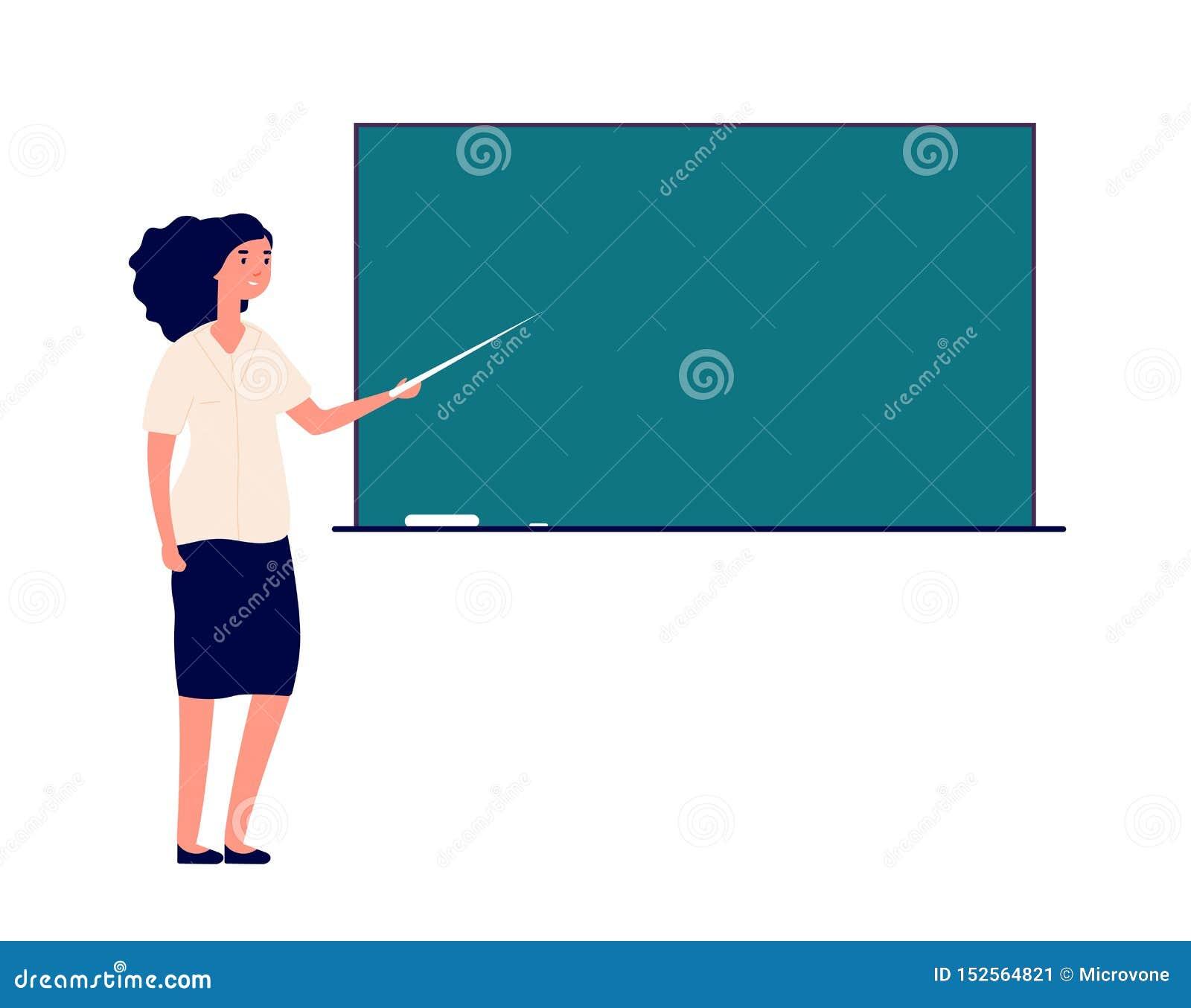 Vrouwenleraar bij bord vrouwelijke privé-leraar in de studenten van het klaslokaalonderwijs Het vectorconcept van het schoolonder