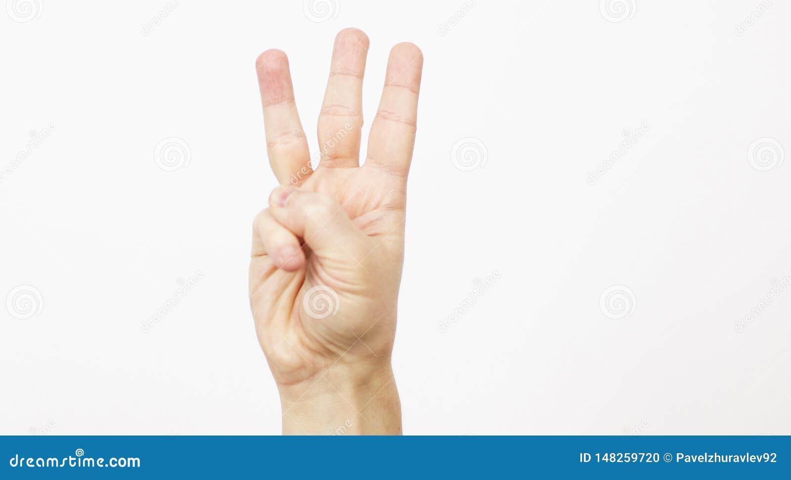 Vrouwenman de handen tonen aantal drie op een witte achtergrond Perfect beeld voor zaken Drie duimen De mannelijke hand is