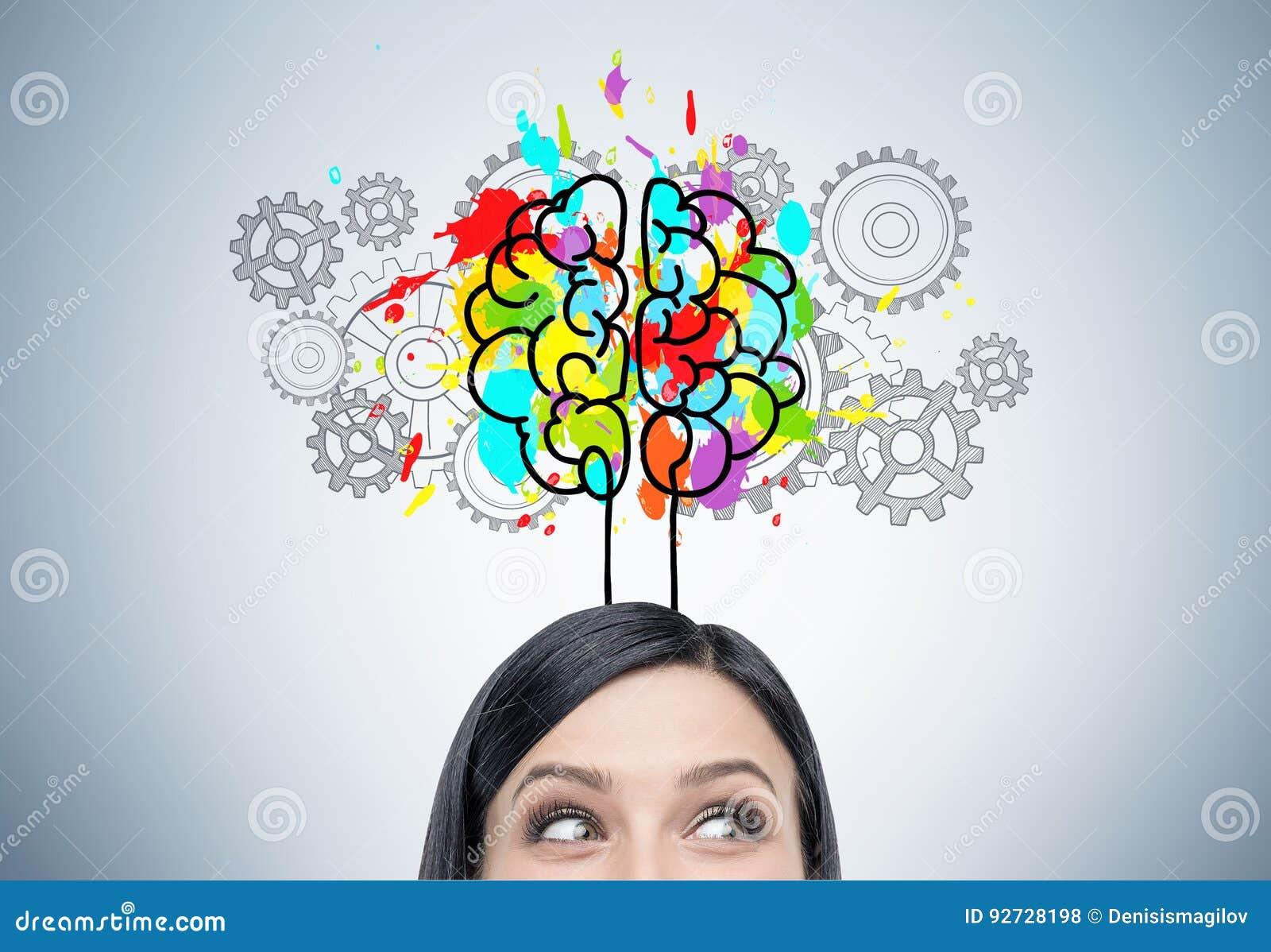 Vrouwens hoofd, hersenen en radertjes