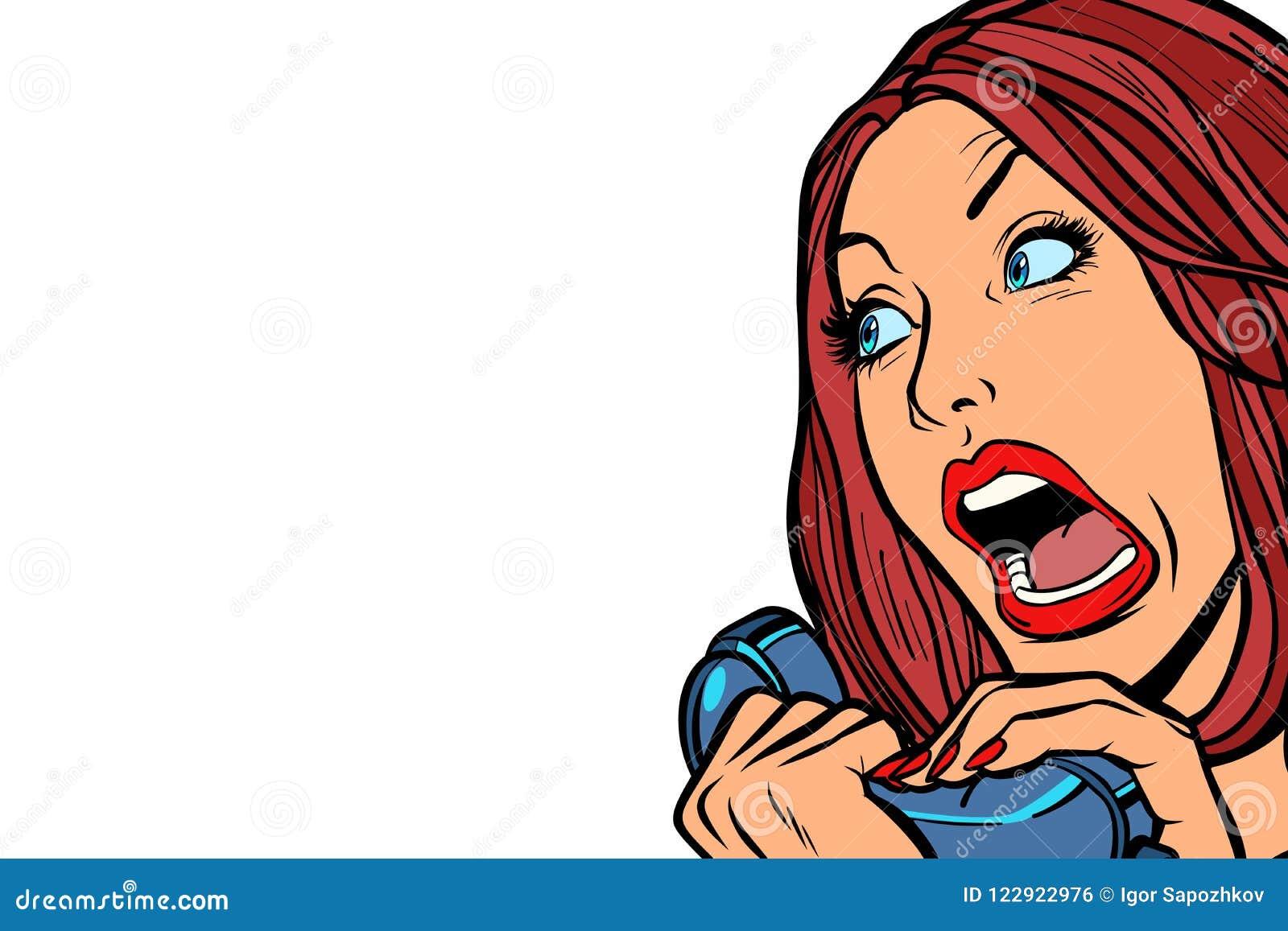Vrouwenschreeuwen in telefoon Isoleer op witte achtergrond