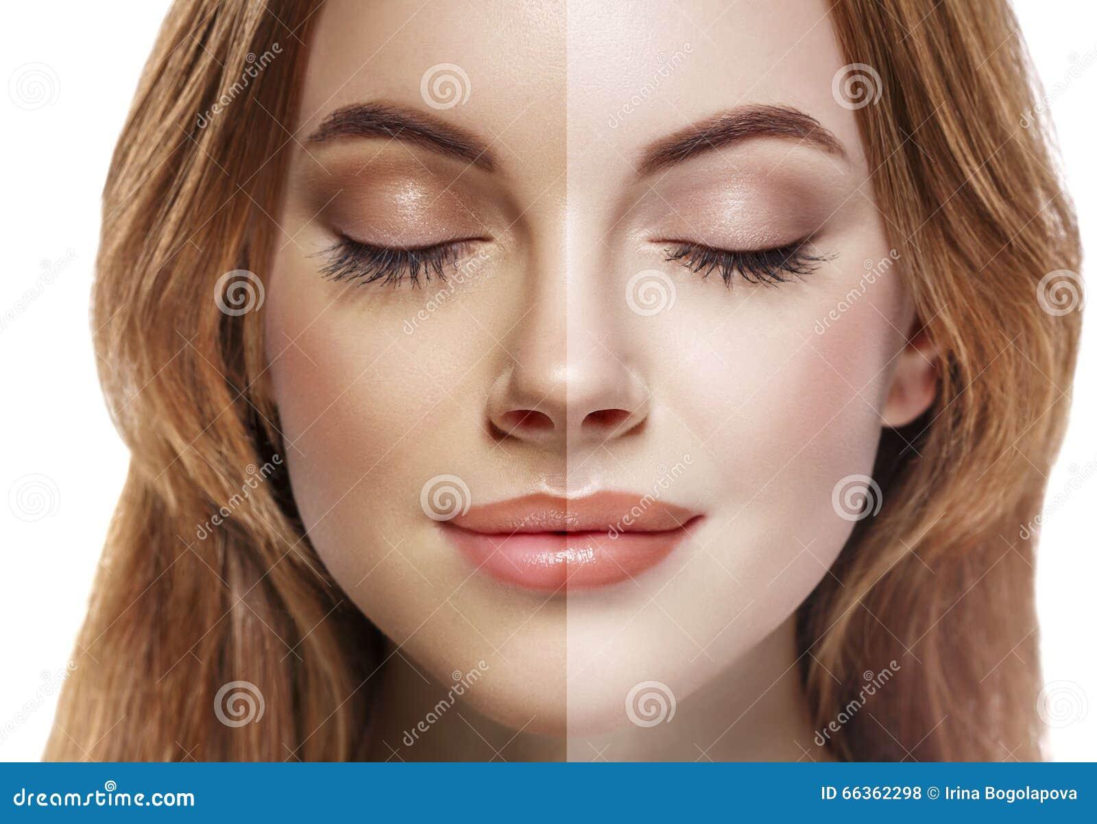 Vrouwentan de halve nevel van het gezichts mooie portret