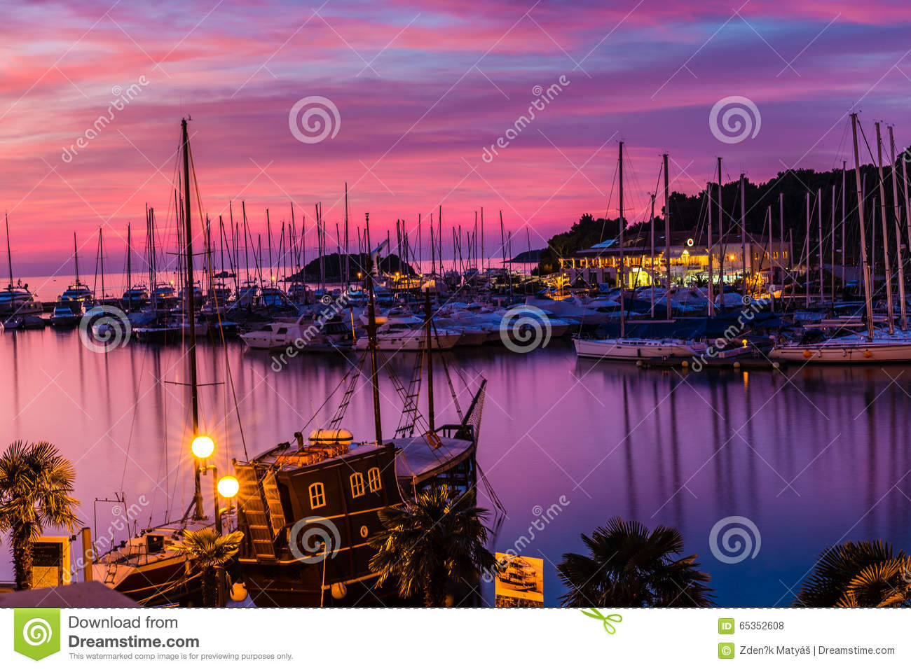 Vrsar Port During Colorful Sunset-Istria,Croatia