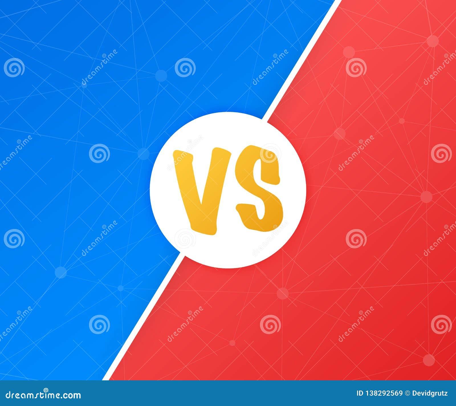 VS Błękitny i czerwony komiczny projekt Versus Batalistyczny sztandaru dopasowanie vs list rywalizaci konfrontacja, również zwróc