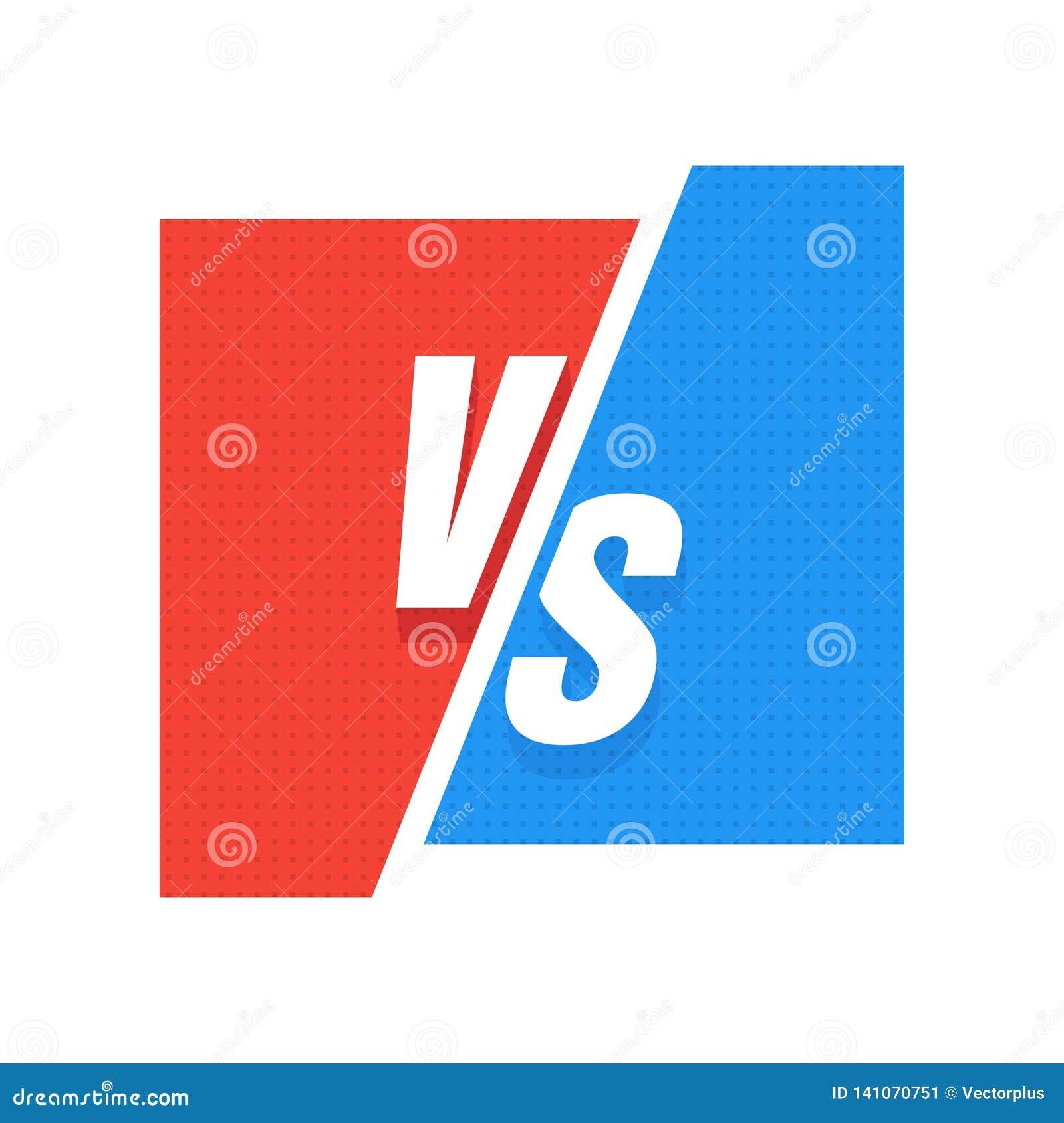 VS Błękitny i czerwony komiczny projekt Versus wektor