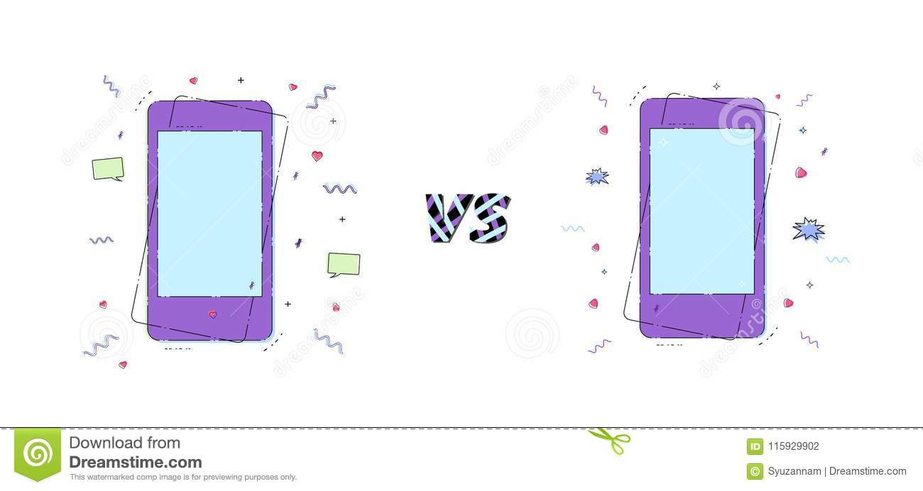 versus card with phones vector illustration stock vector