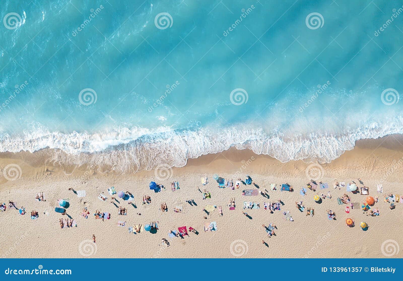 Vue aérienne à la plage Fond de l eau de turquoise de vue supérieure Paysage marin d été d air