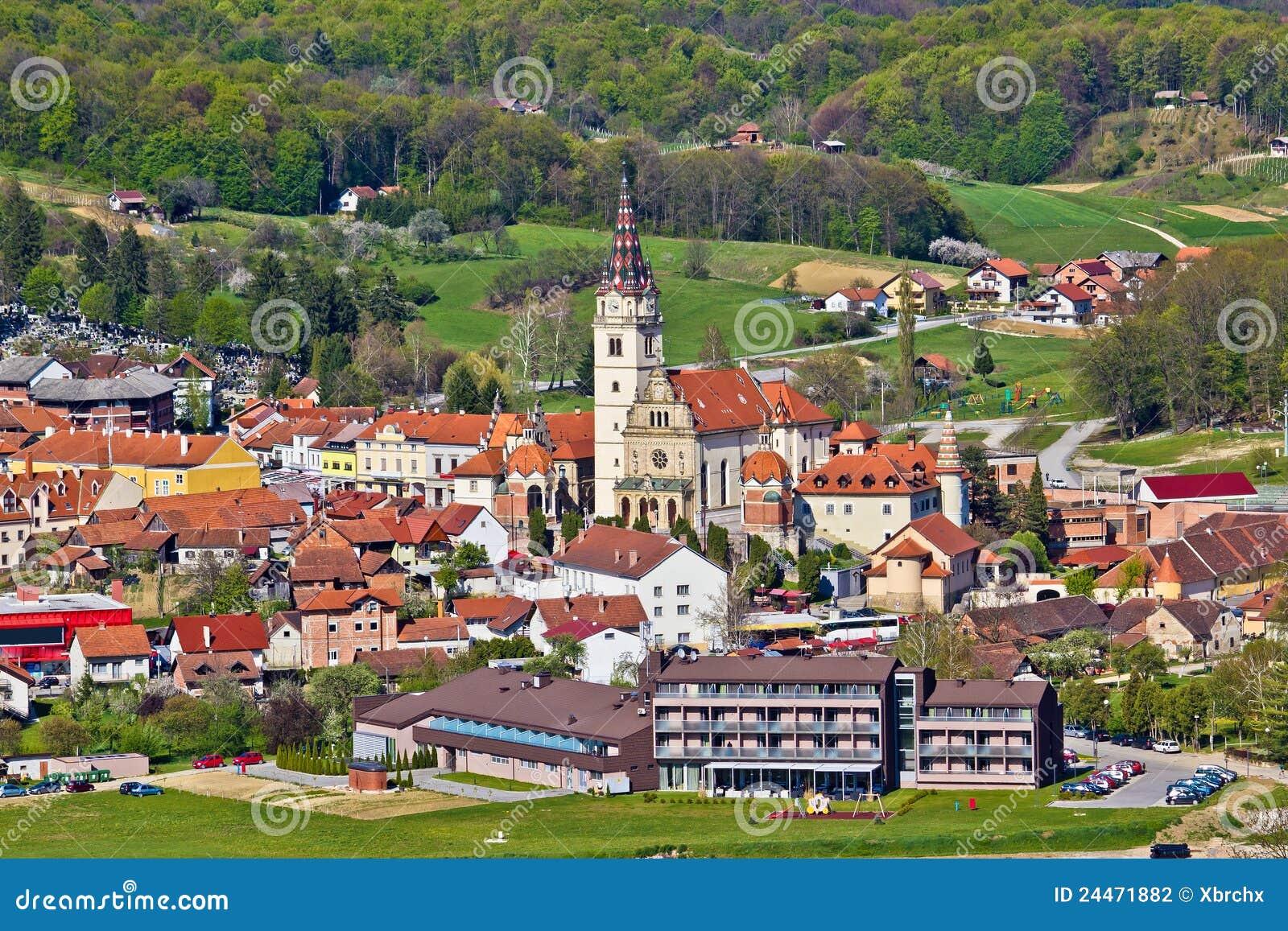 Vue aérienne d église de Marija Bistrica