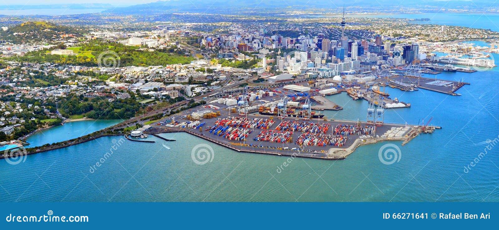 Vue aérienne d Auckland financière et des ports d Auckland Nouvelle-Zélande