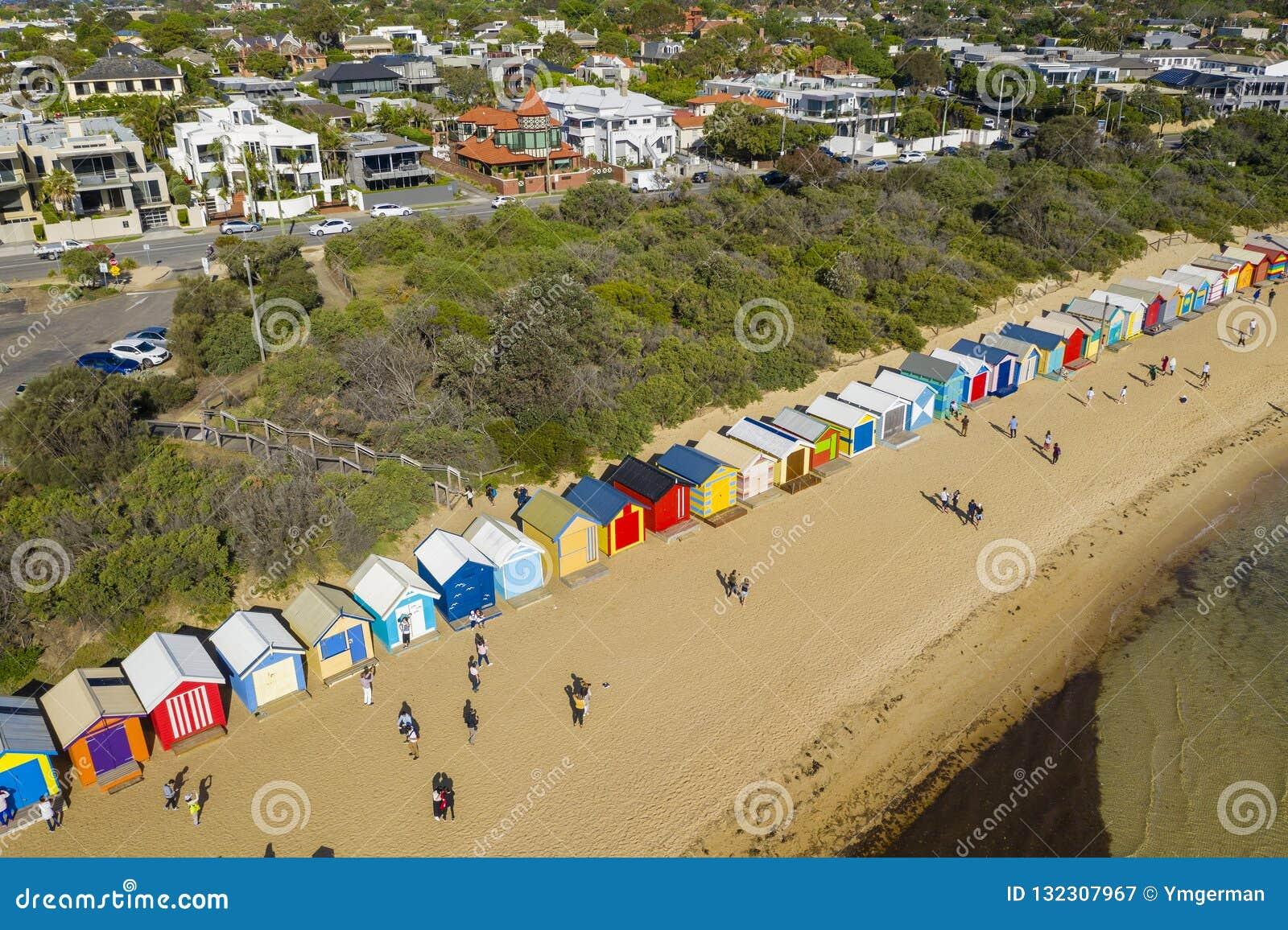 Vue aérienne de Brighton Bathing Boxes à Melbourne
