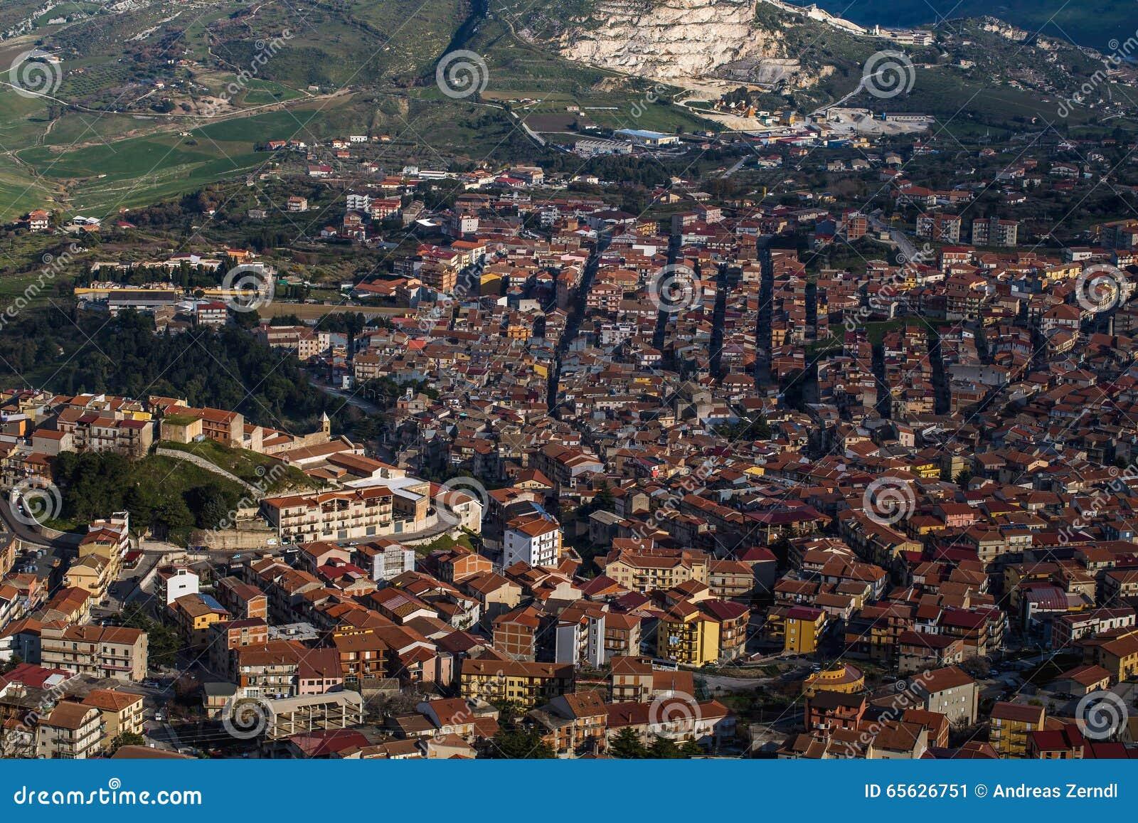 Vue aérienne de Cammarata, Sicile, Italie