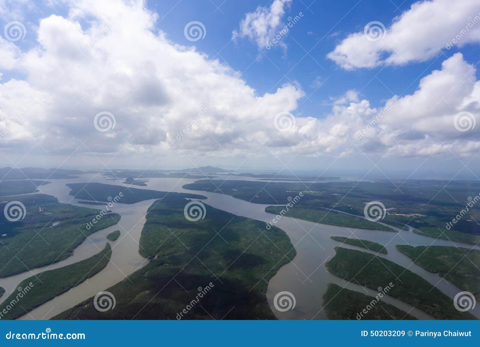Vue aérienne de la forêt et de la rivière