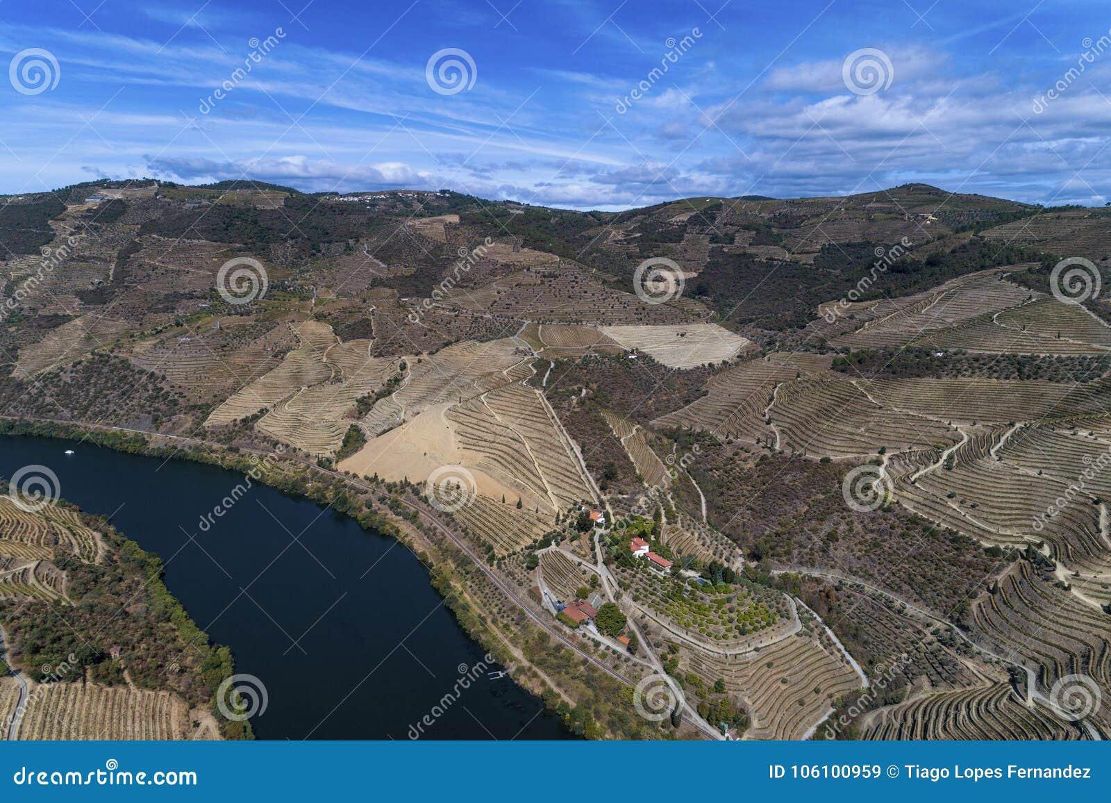 Vue Aérienne De La Rivière De Douro Et Des Pentes En