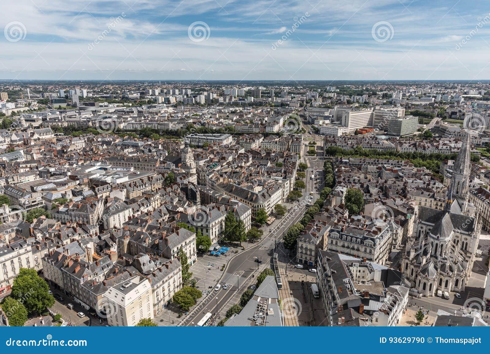 Vue Aérienne De Nantes Du Centre Photo Stock Image Du