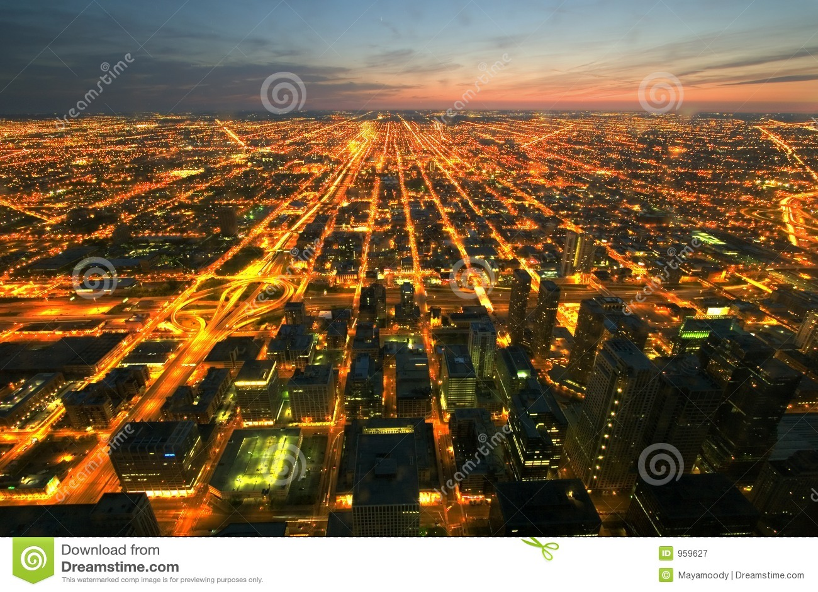 Vue aérienne de nuit de Chicago