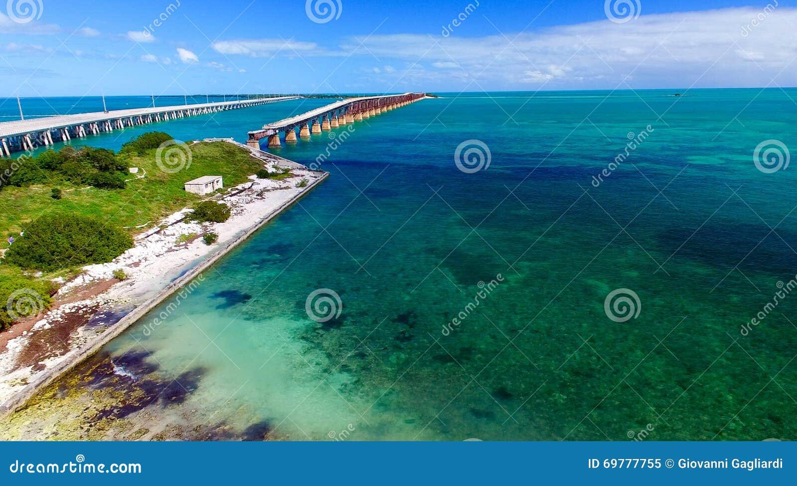 Vue aérienne de parc d état de Bahia Honda, la Floride