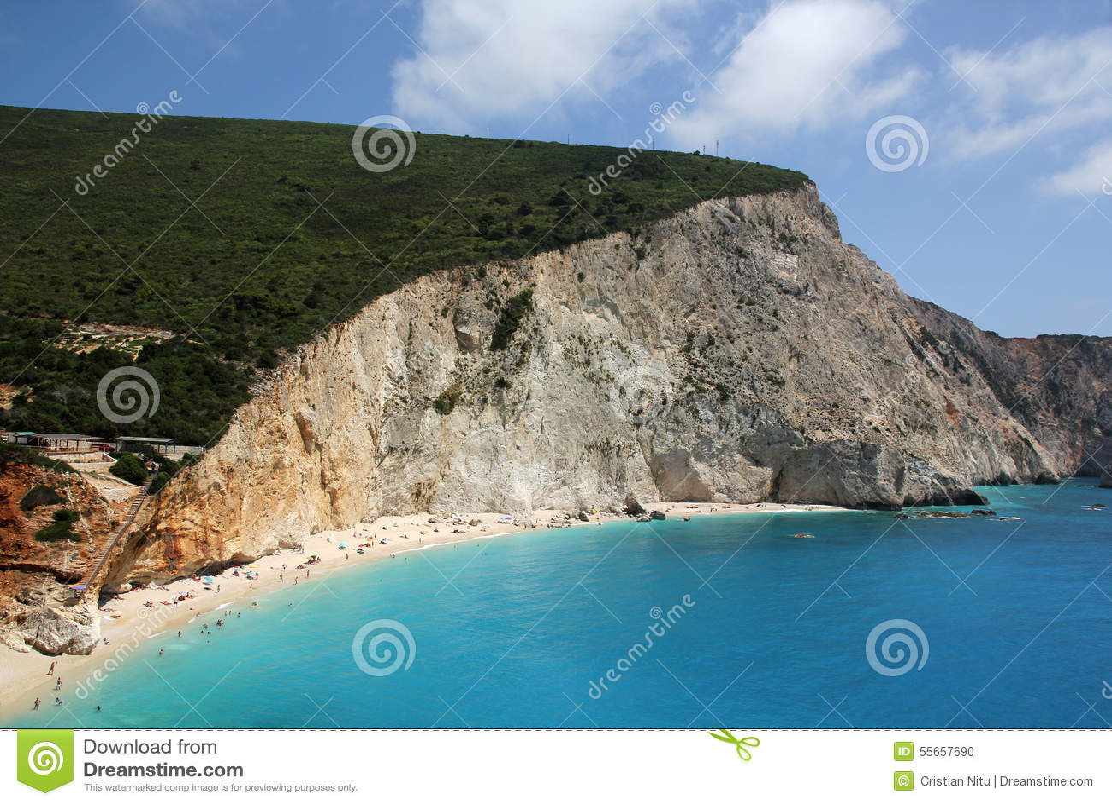 Vue aérienne de plage de Porto Katsiki, île de Leucade