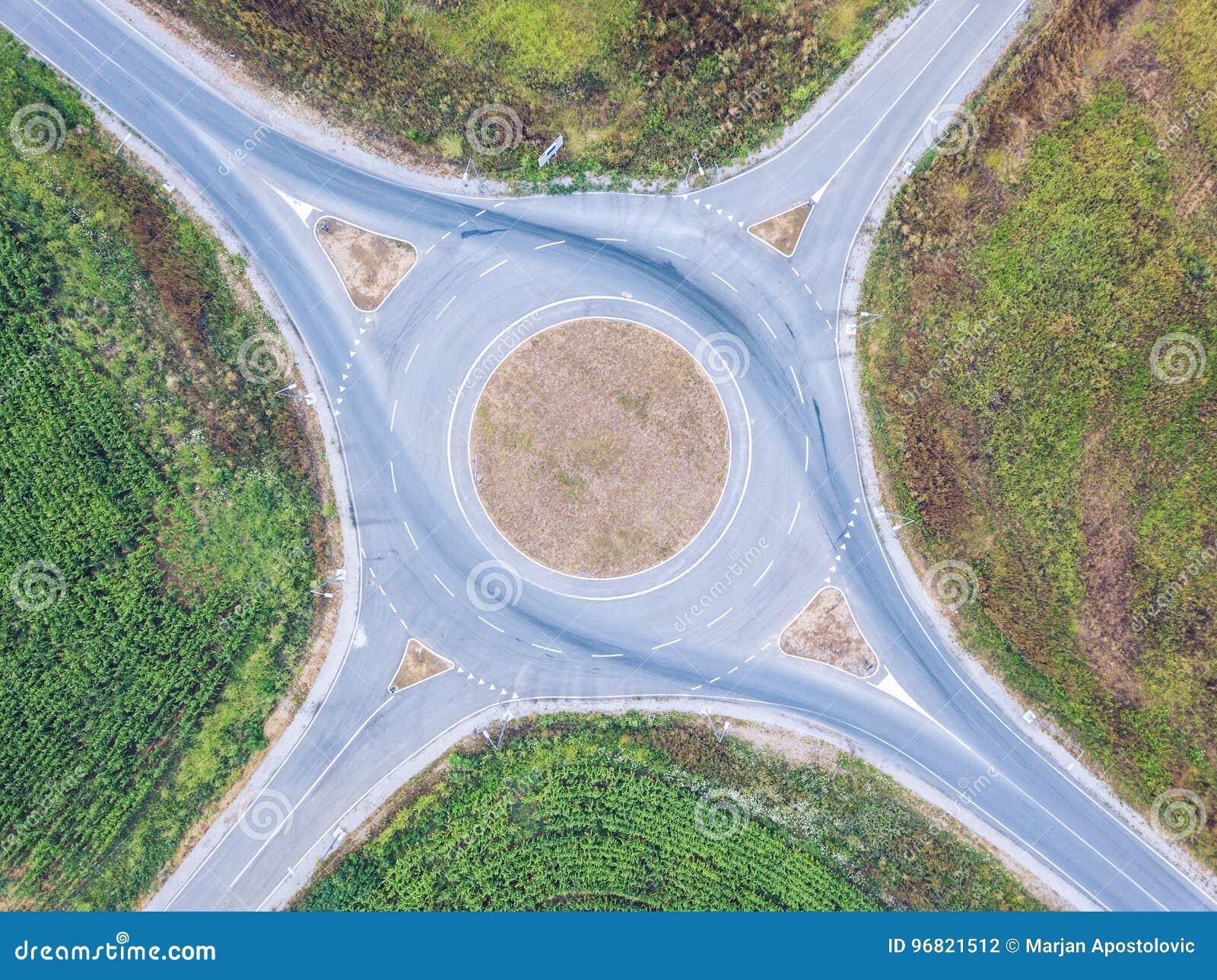 Vue aérienne de rond point