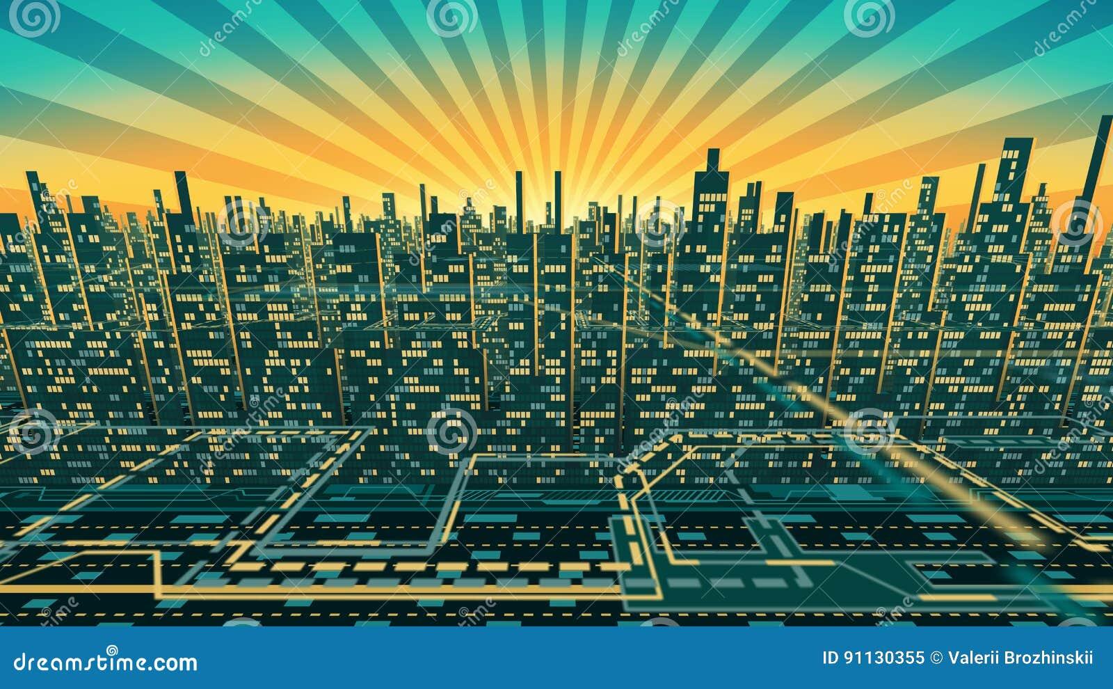 Vue aérienne de silhouette de gratte-ciel de ville avec Windows rougeoyant à l arrière-plan du ciel brillant